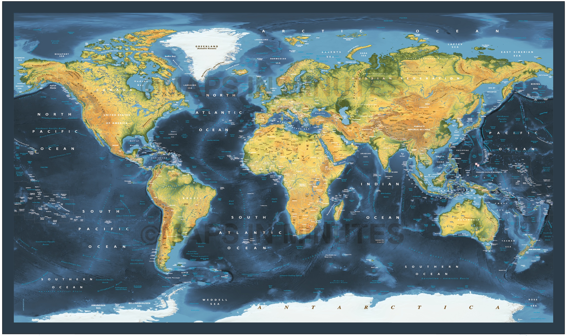 Dark Style Contemporary Canvas World Wall Map 72 X 38
