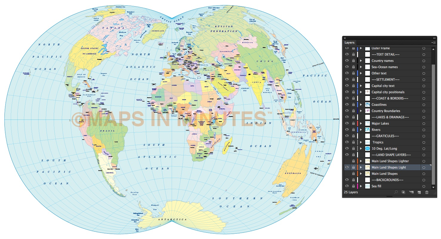 Digital vector royalty free world political map in the dietrich vector world map dietrich kitada projection 100m scale uk centric light fills gumiabroncs Images