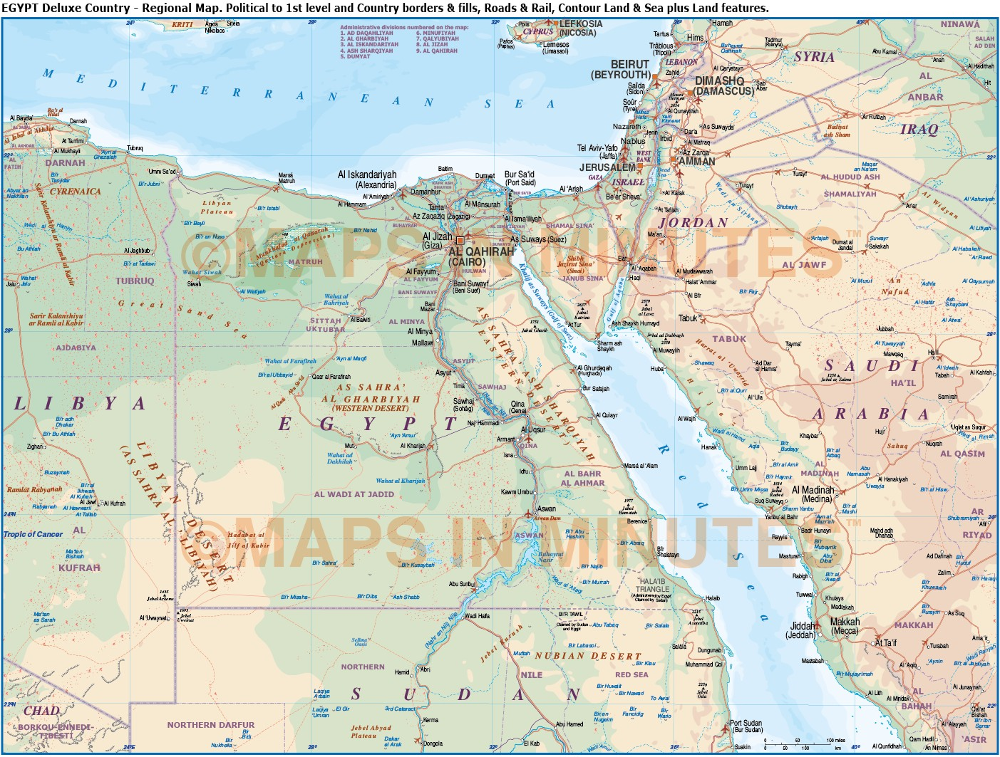 Egypt digital vector political road rail map in Illustrator and