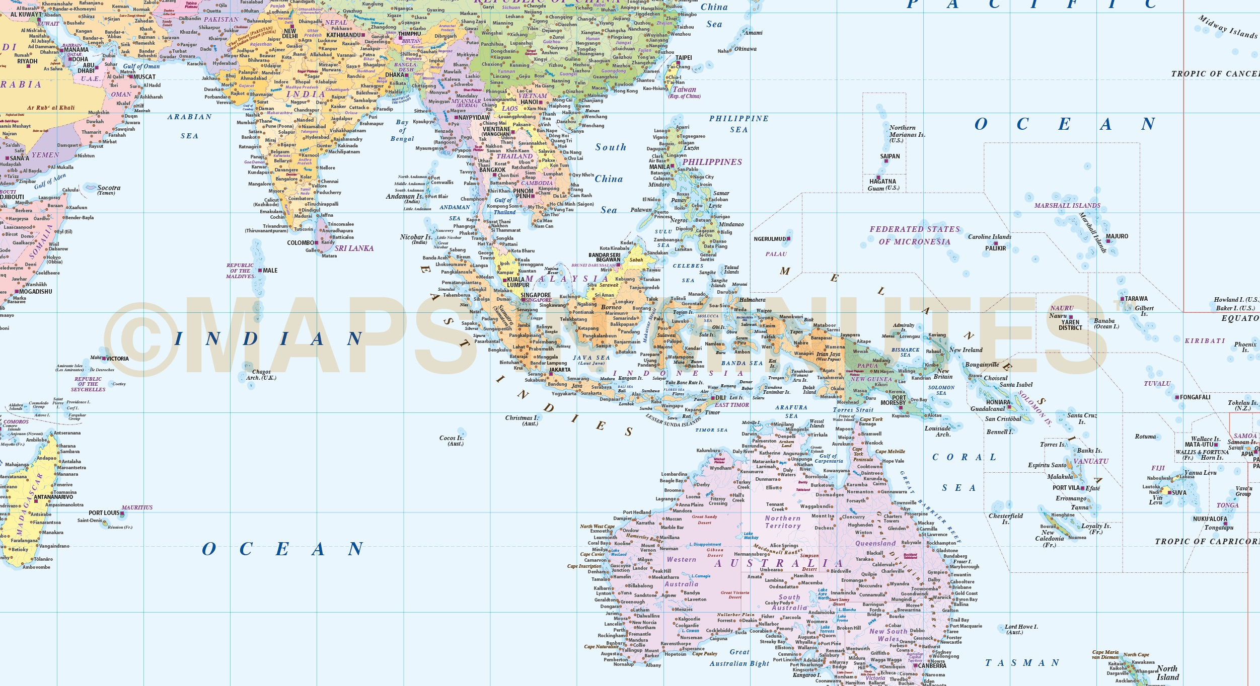 Digital vector world map equirectangular projection world vector in illustrator cs formats vector world map in equirectangular projection southern asia detail in illustrator cs formats gumiabroncs Choice Image