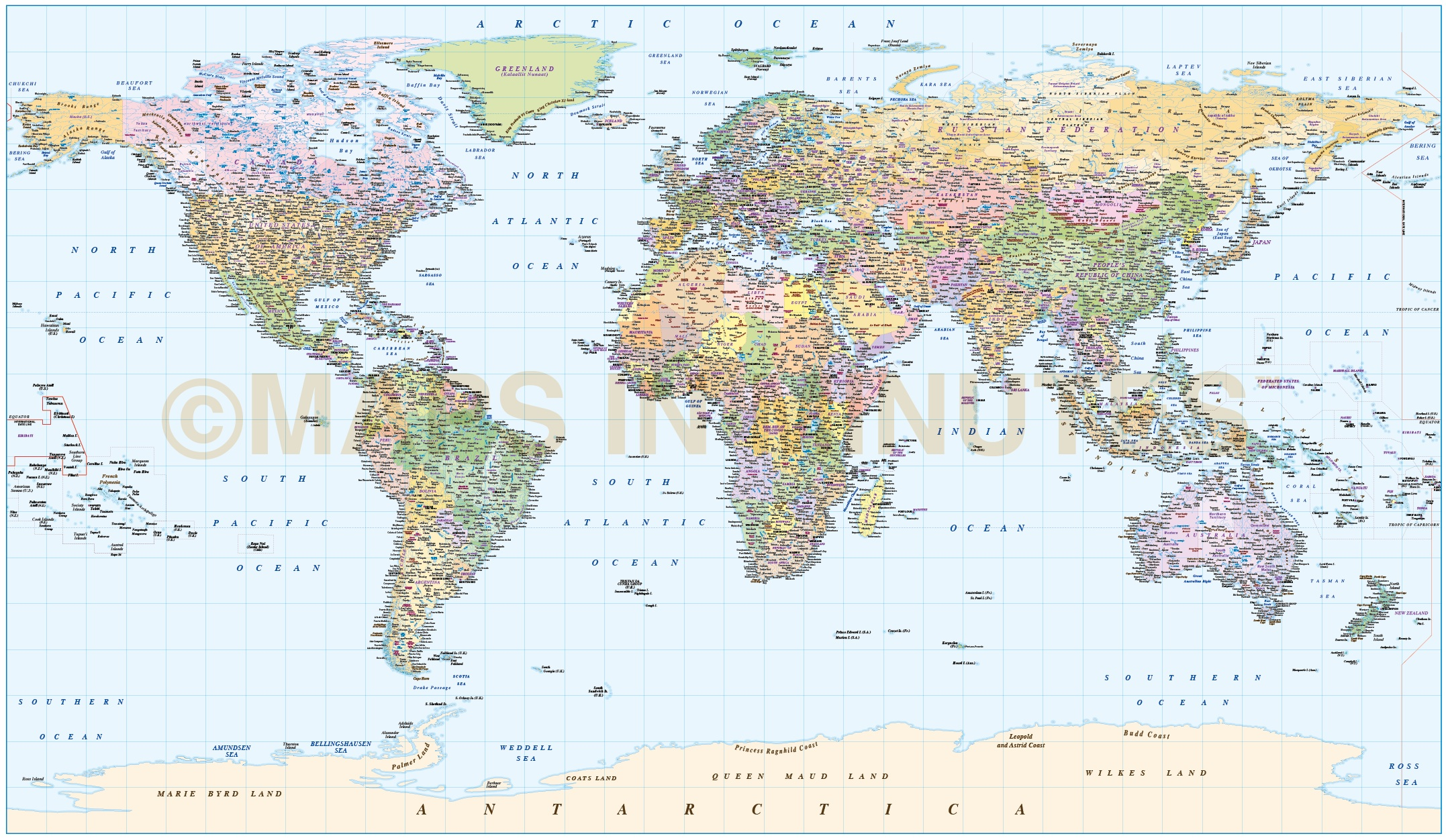 Digital vector World map, Equirectangular Projection World vector
