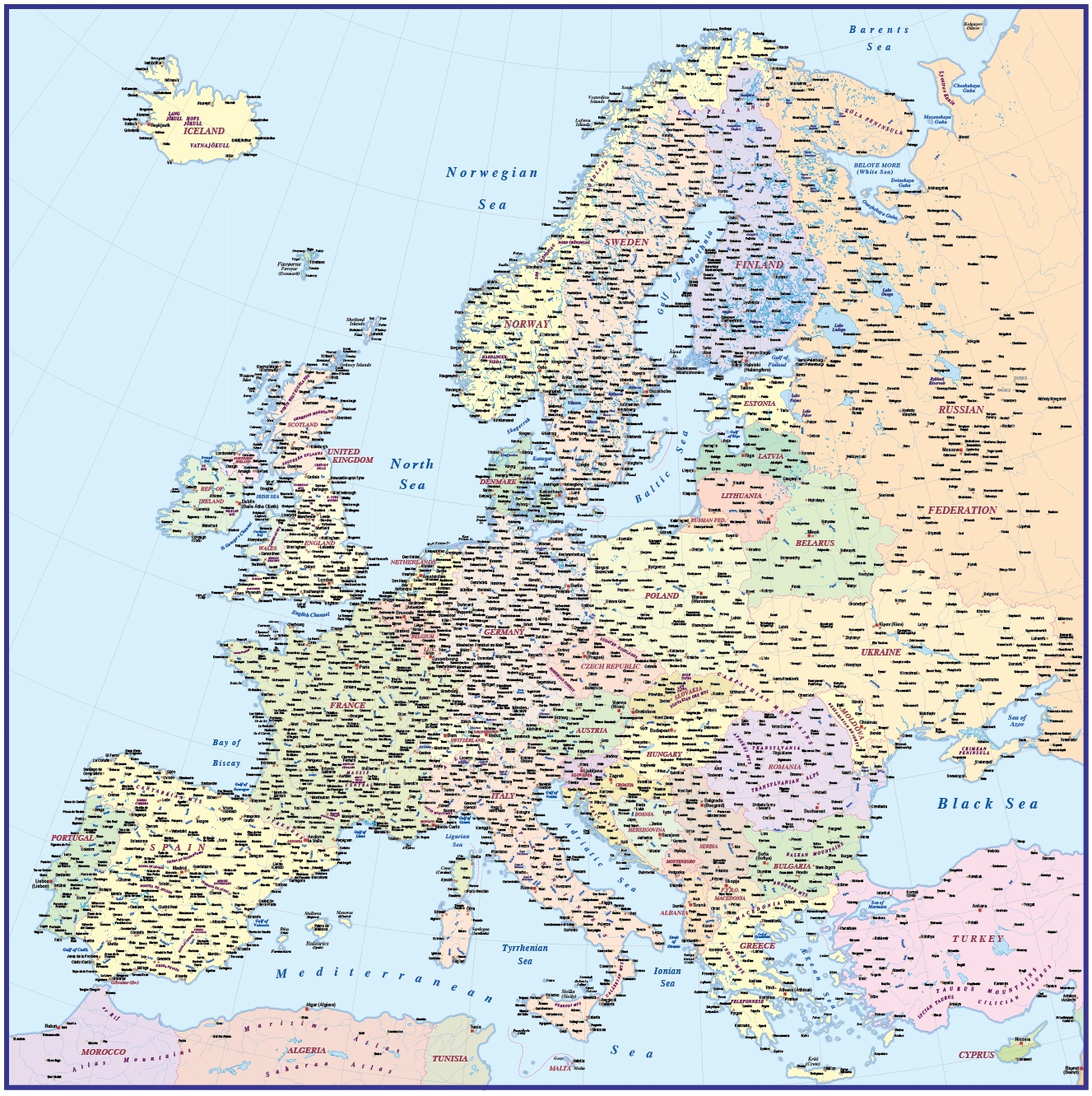 Political Map Of Europe With Countries.Vector Europe Map Political Illustrator And Pdf Formats 4 000 000