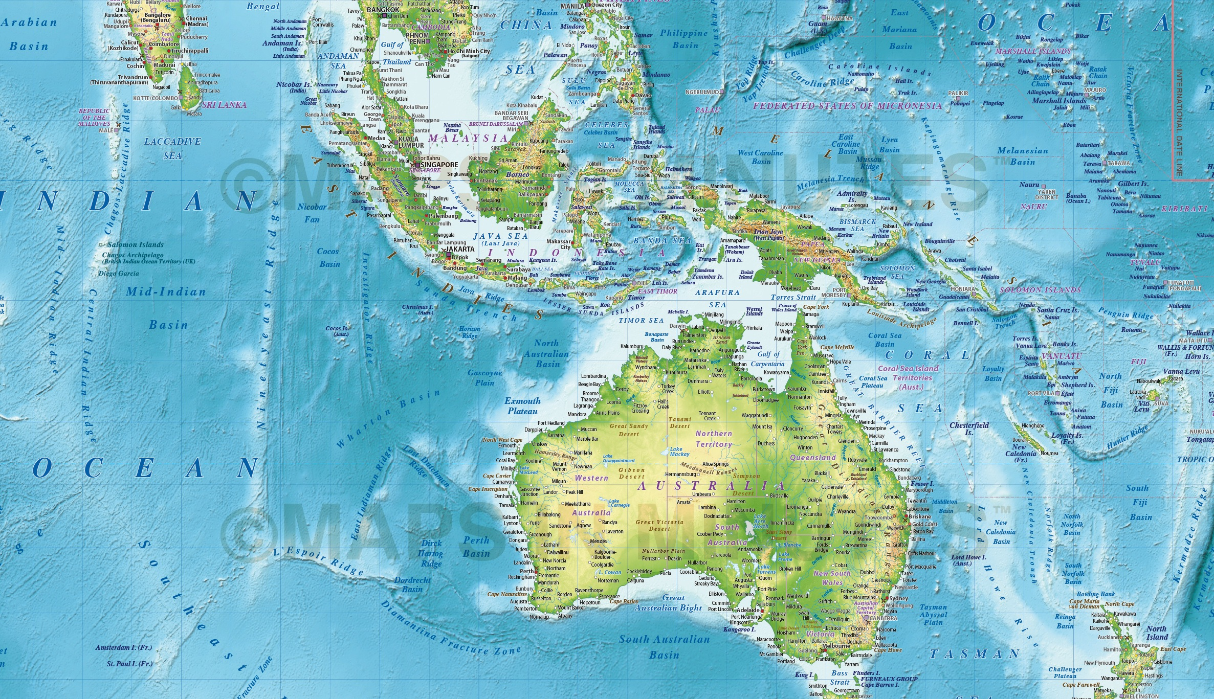 Regular style Contemporary Canvas World Wall Map 72 x 38 – Map of the World in Detail