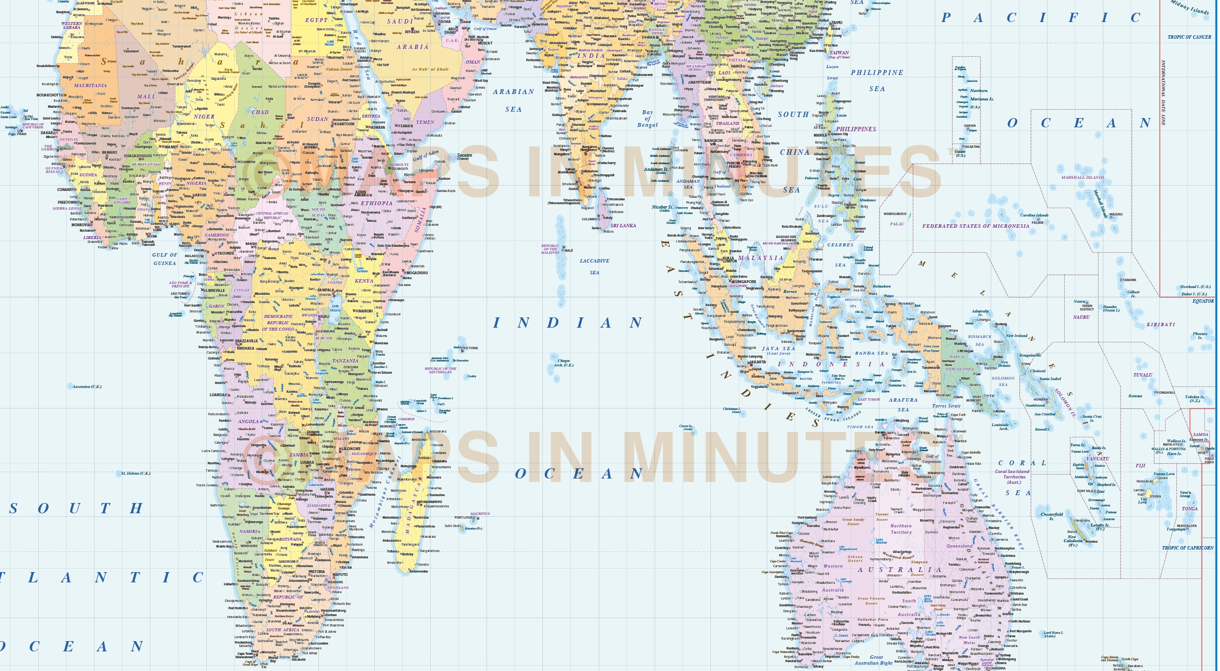 World Map India Centric.  Vector world map Gall Orthographic Projection Political World Map UK centric 10M Digital vector