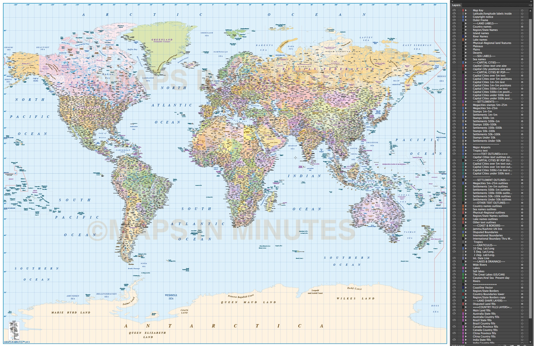 whole world map gall projection with layered populations uk