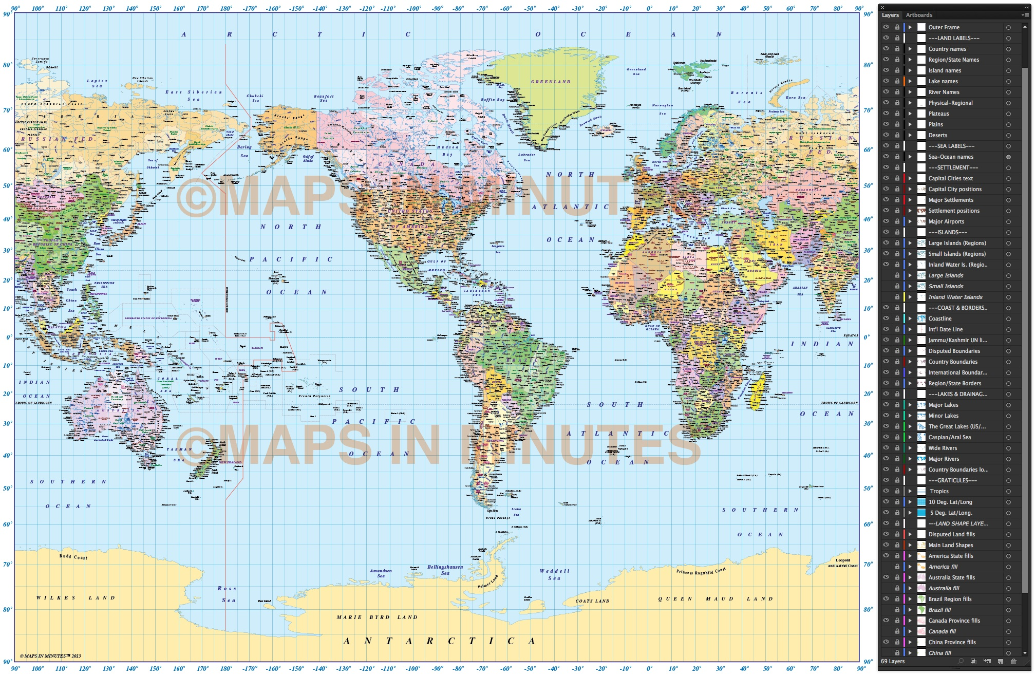 Vector world map gall projection political map us centric 10m digital vector world map political in gall projection showing layers gumiabroncs Choice Image