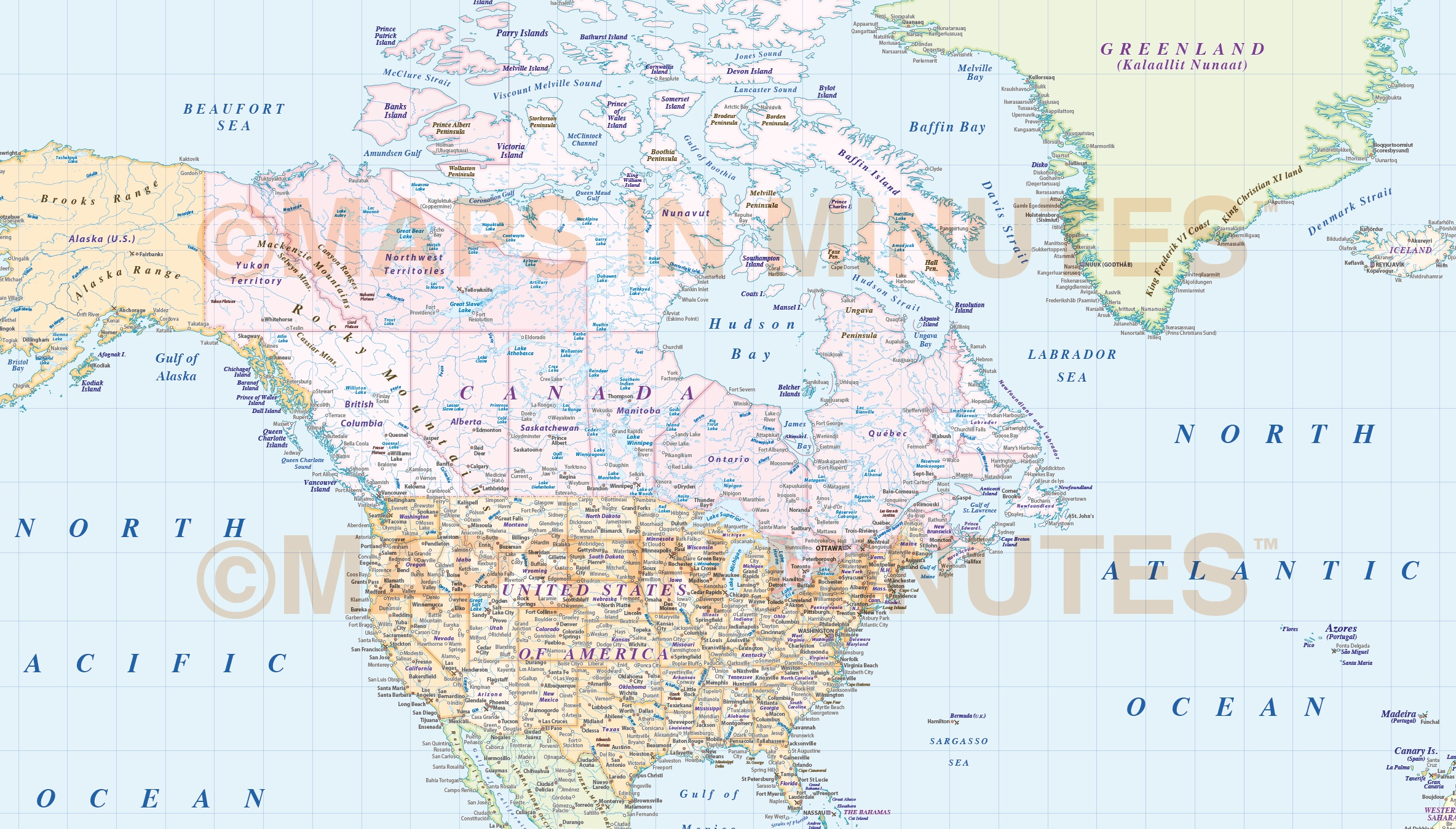 Vector world map america centric political gall projection with europe detail digital vector map gall world map with insets and ocean floor contours gumiabroncs Image collections