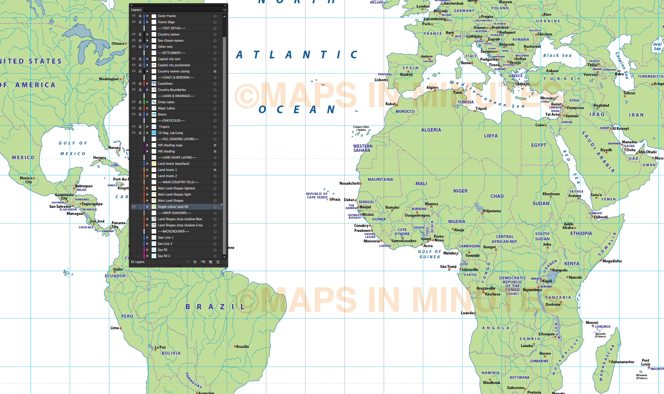 Digital Vector Map Gall Projection Political World With Insets - I need a world map