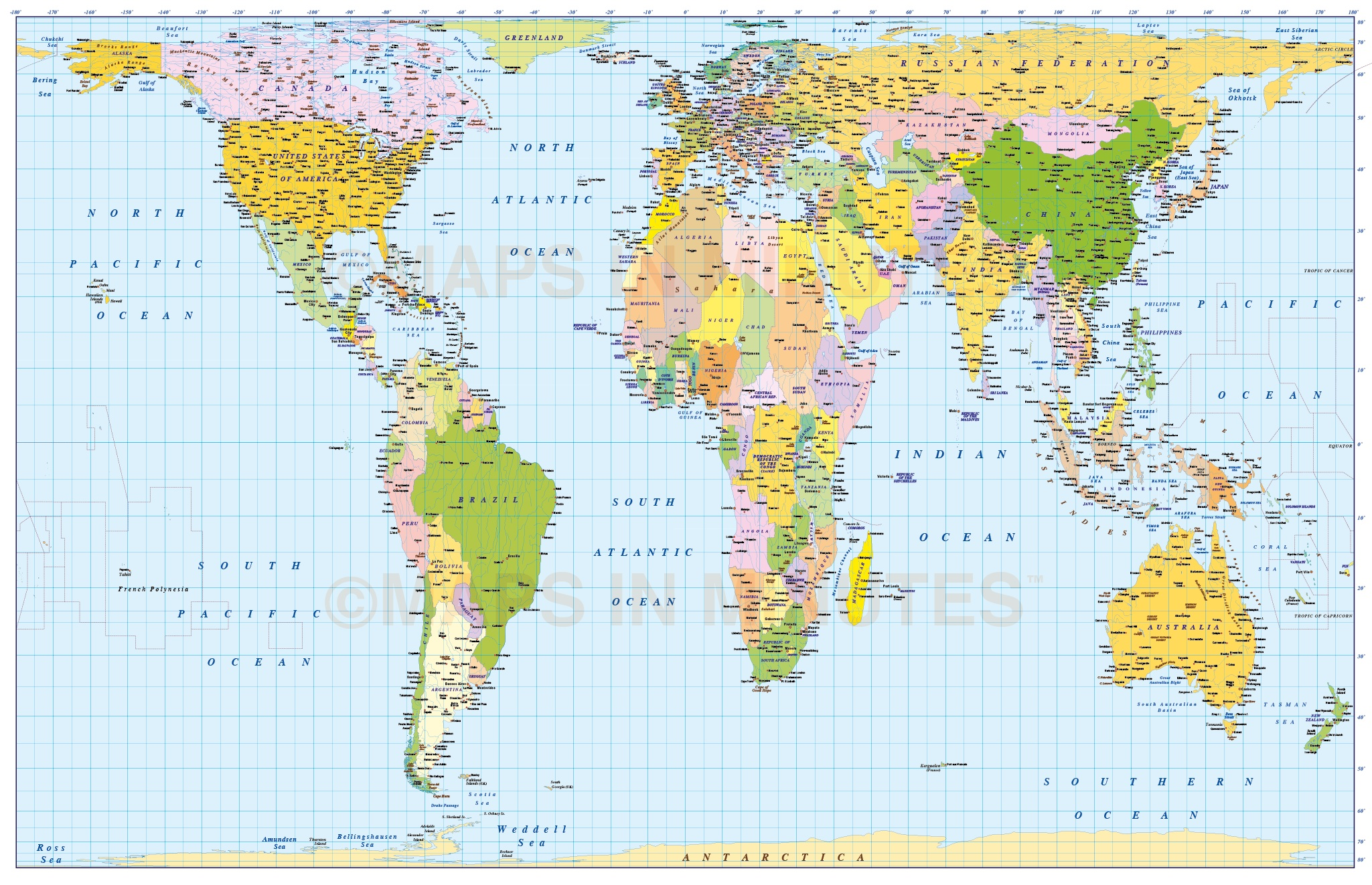 Gall Peters Projection World Map.Medium Scale Digital Vector World Map In Gall Orthographic