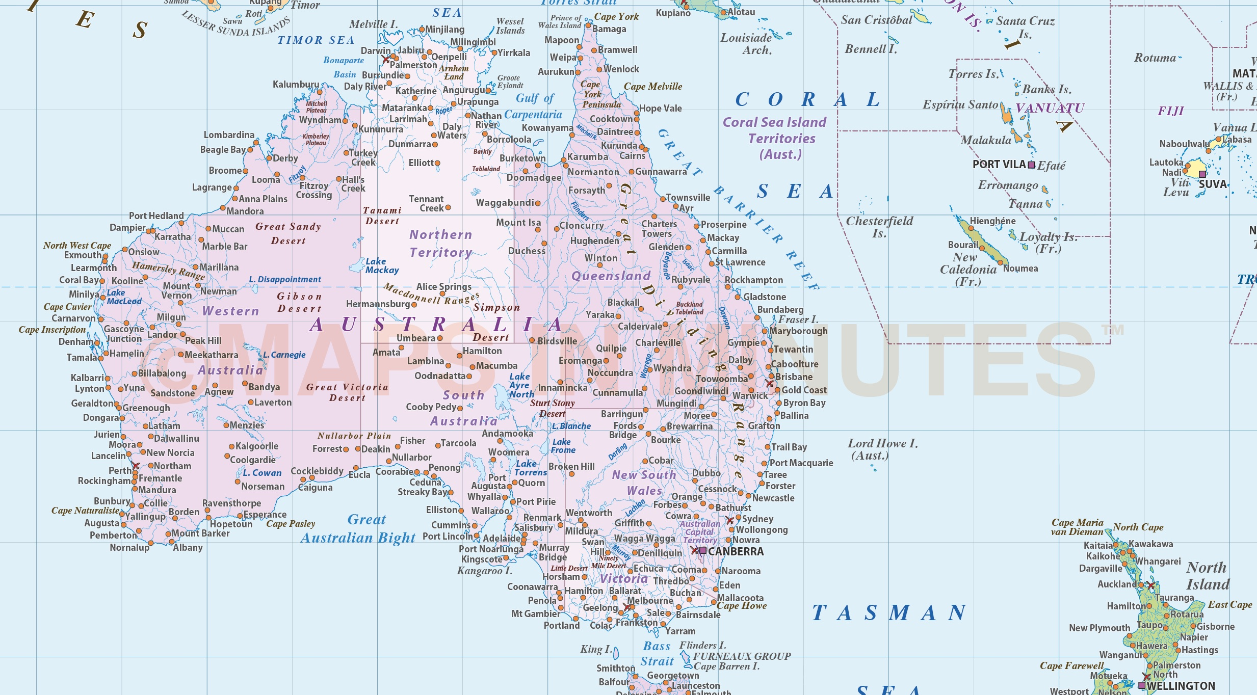 Digital vector World map Political Gall Projection Poster size – Australia Road Map Pdf