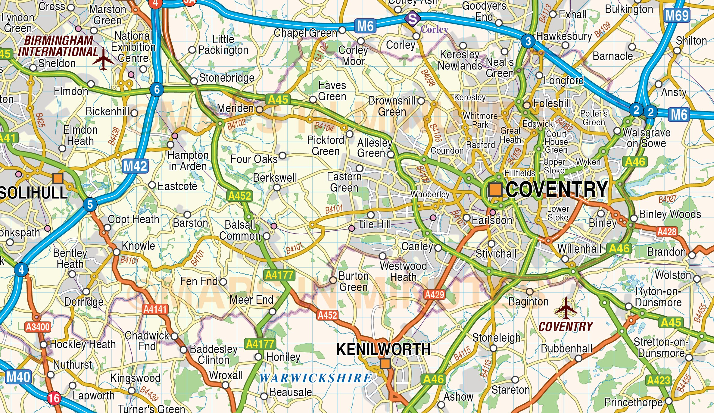 Map Of England Birmingham.Digital Vector Map Of Greater Birmingham Coventry 250k Scale In