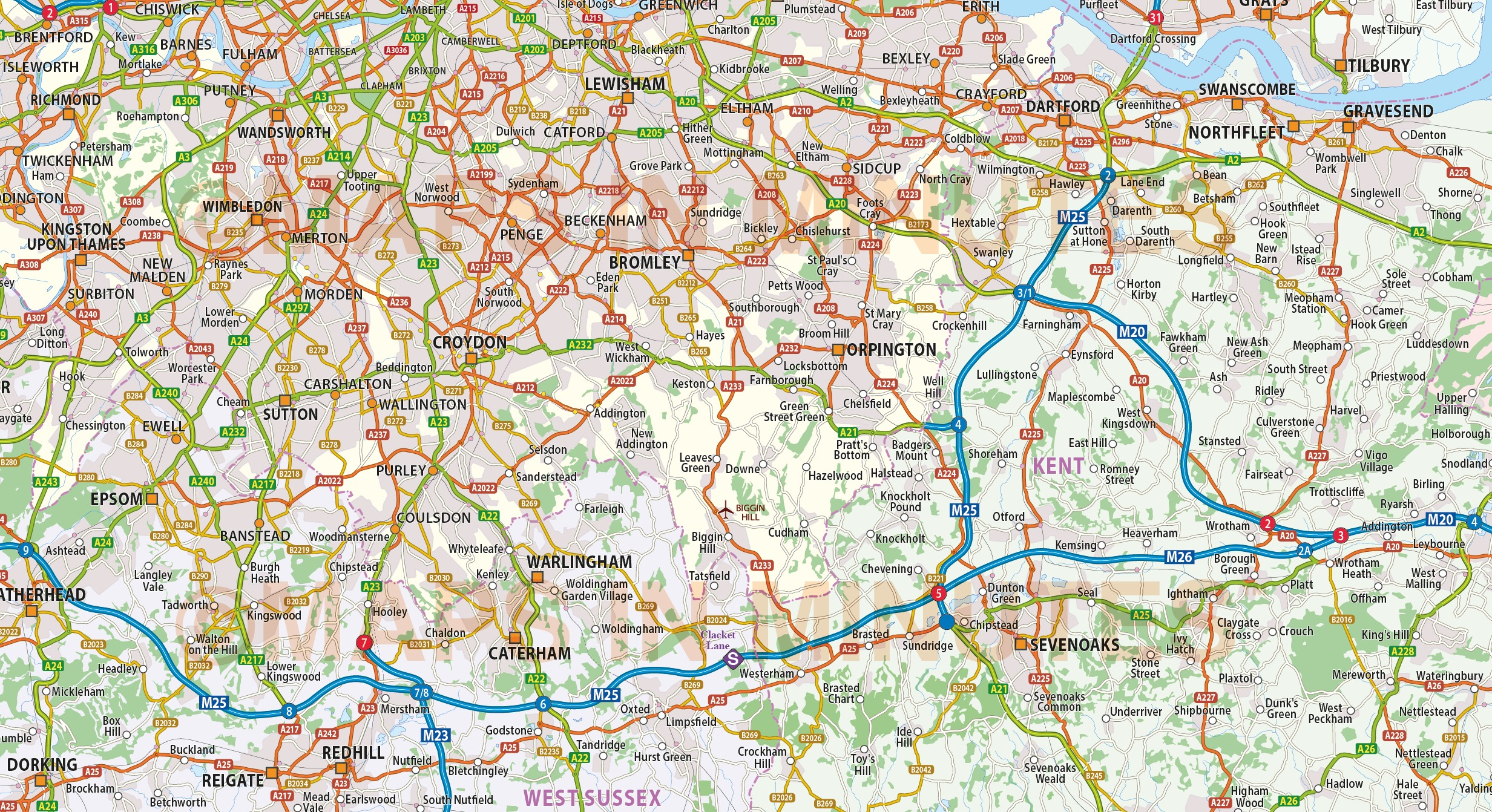 vector greater london m25 county road map 250k scale in ai illustrator cs