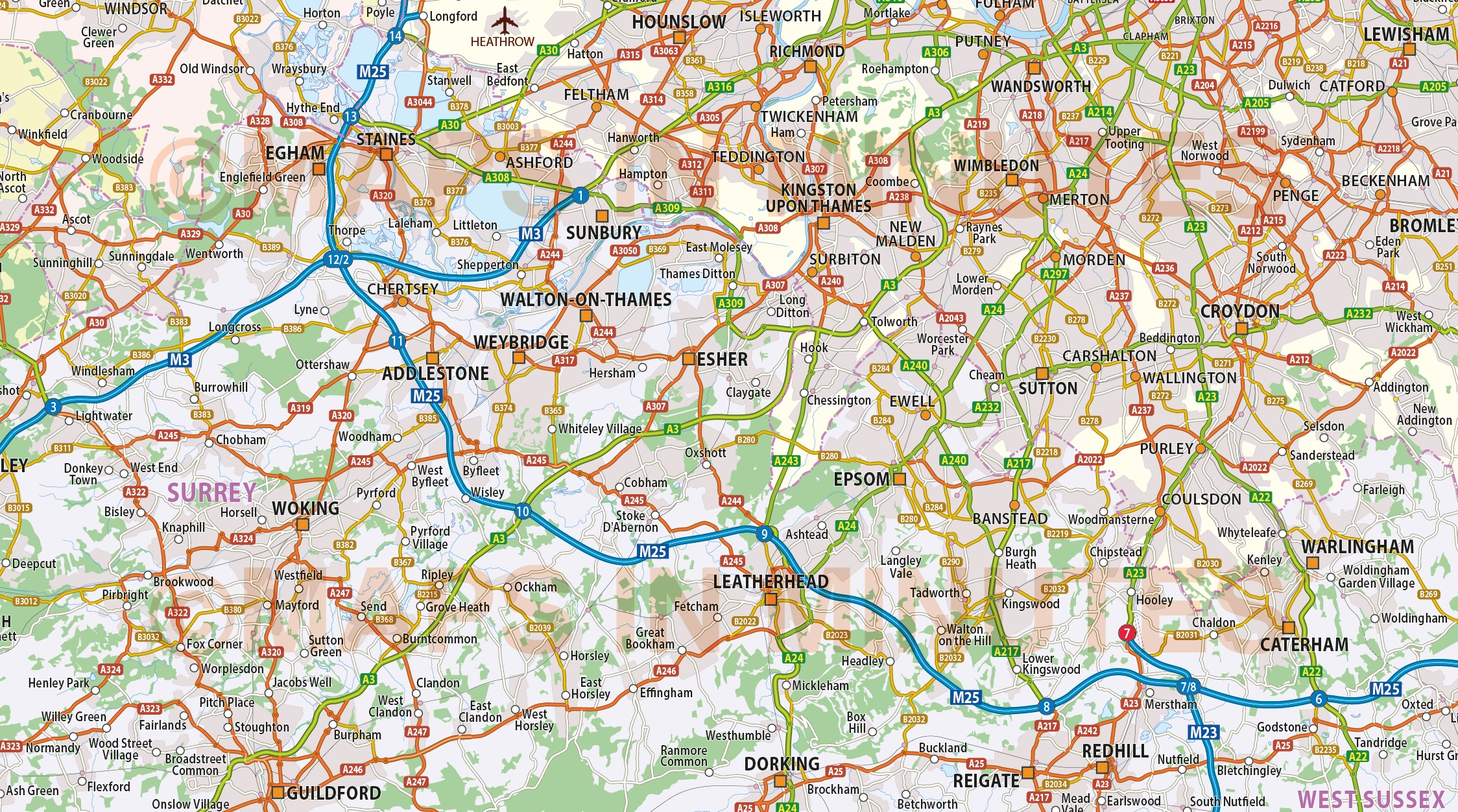 Digital vector map of Greater LondonM25 with roads 250k scale in