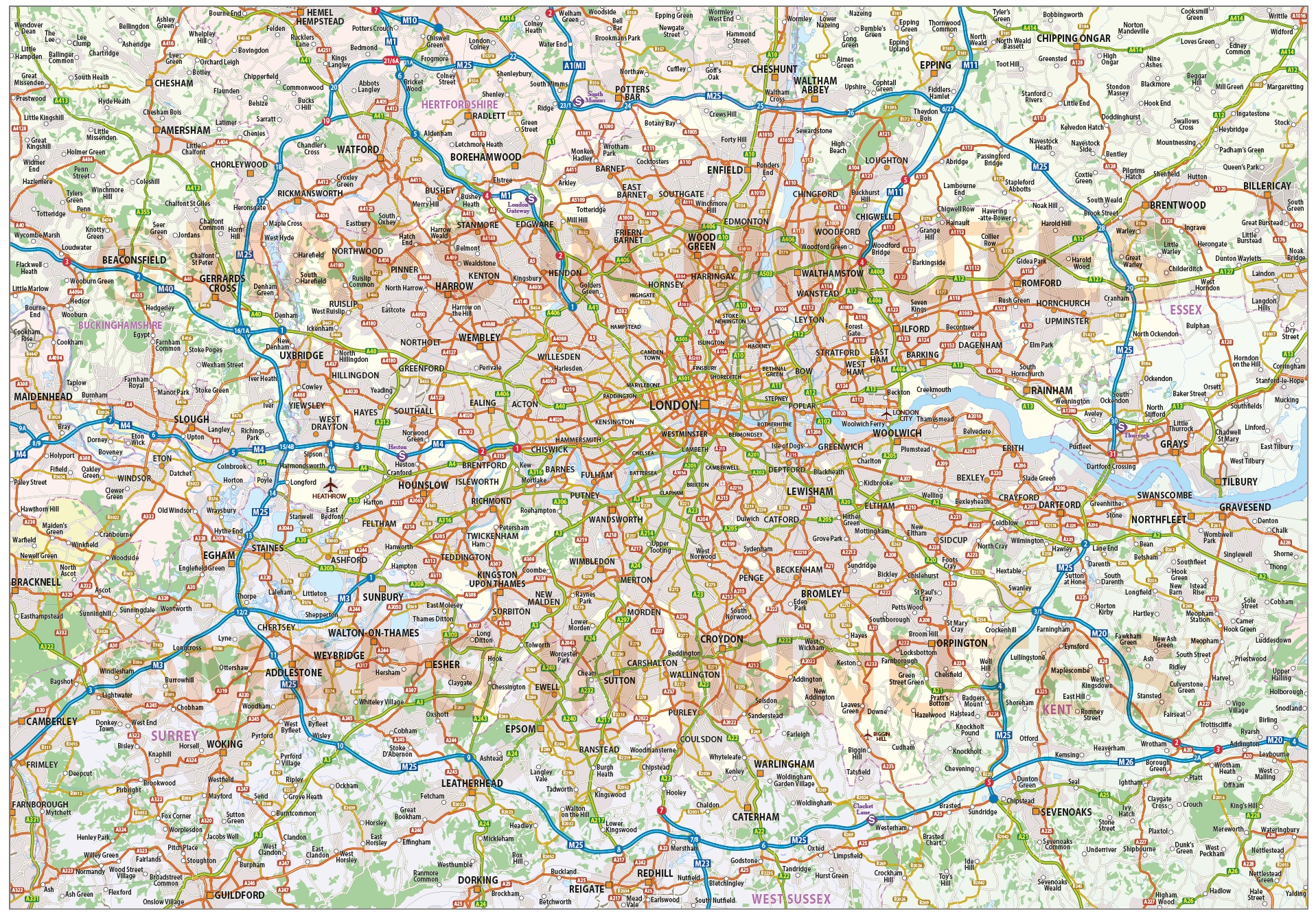 Greater London Map Pdf.Digital Vector Map Of Greater London M25 With Roads 250k Scale In