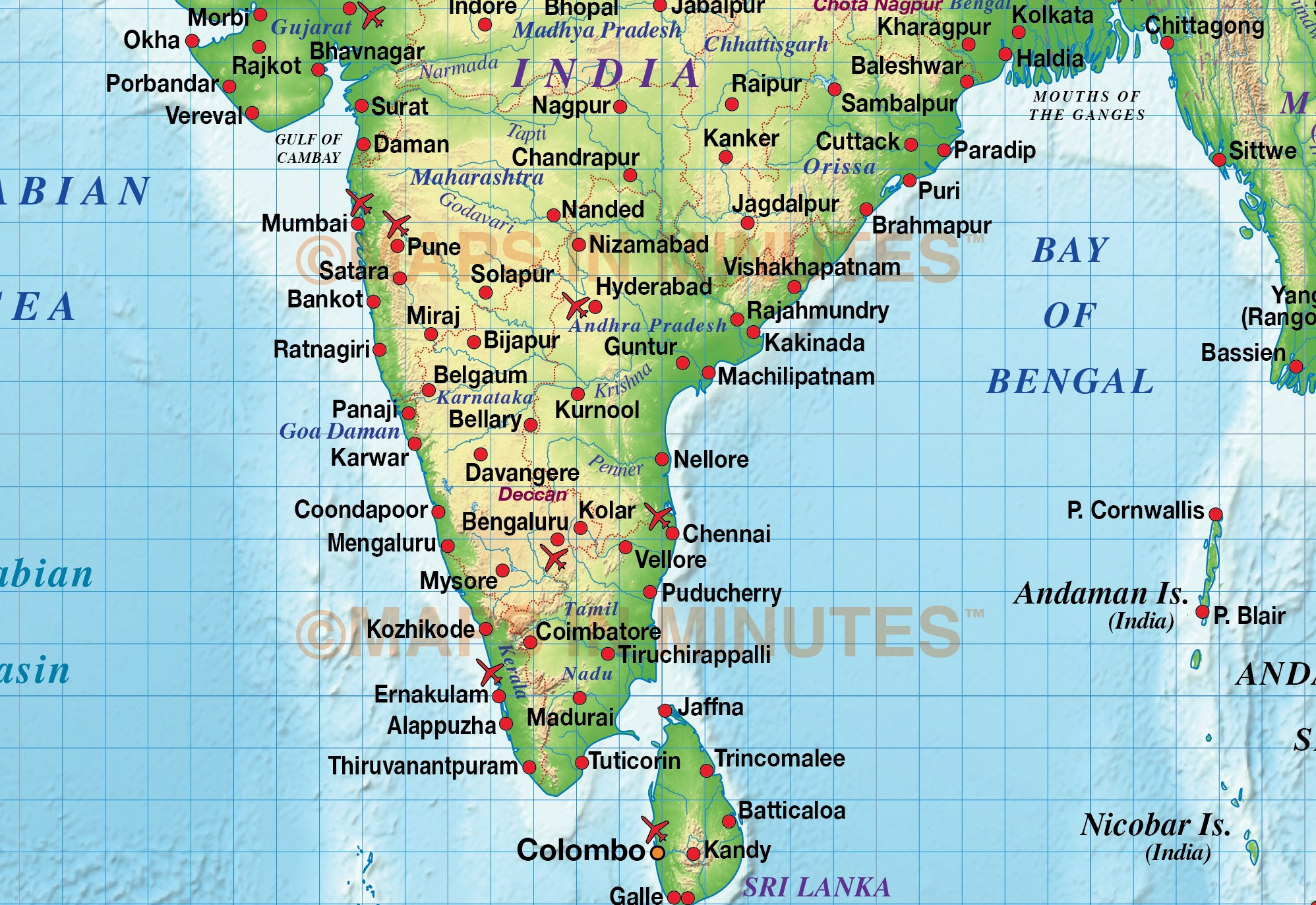 india regular colour political u0026 relief map 20m scale with high