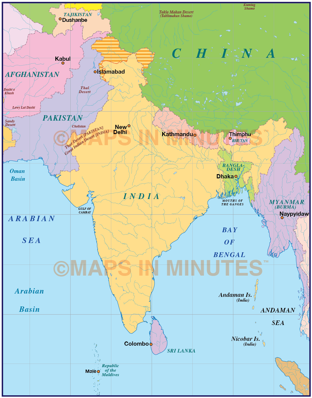 Map Of Asia India.India Simple Political Map 10 000 000 Scale Asia Country Maps