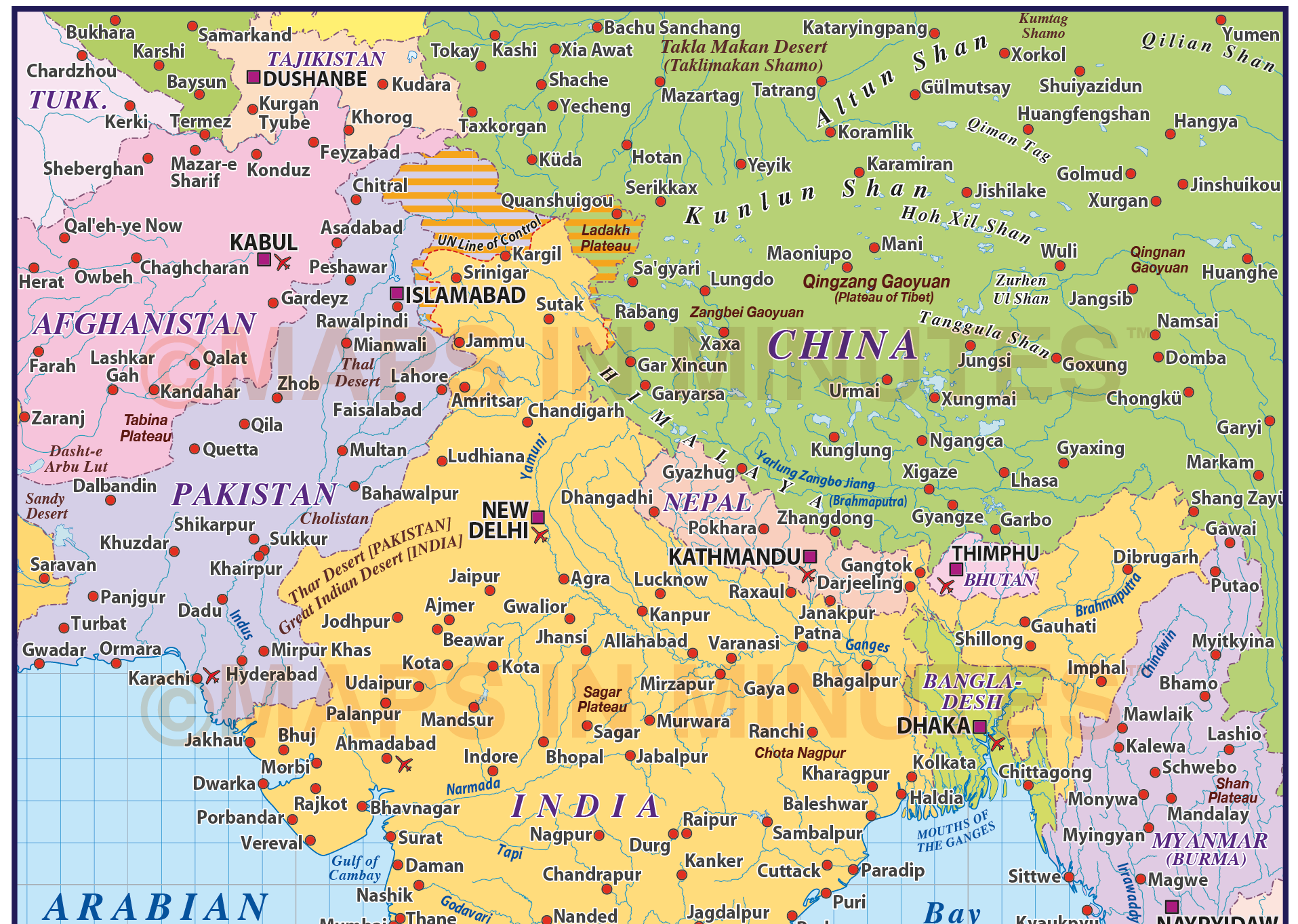 Vector India Country Map M Scale In Illustrator And PDF Format - World political map 2014