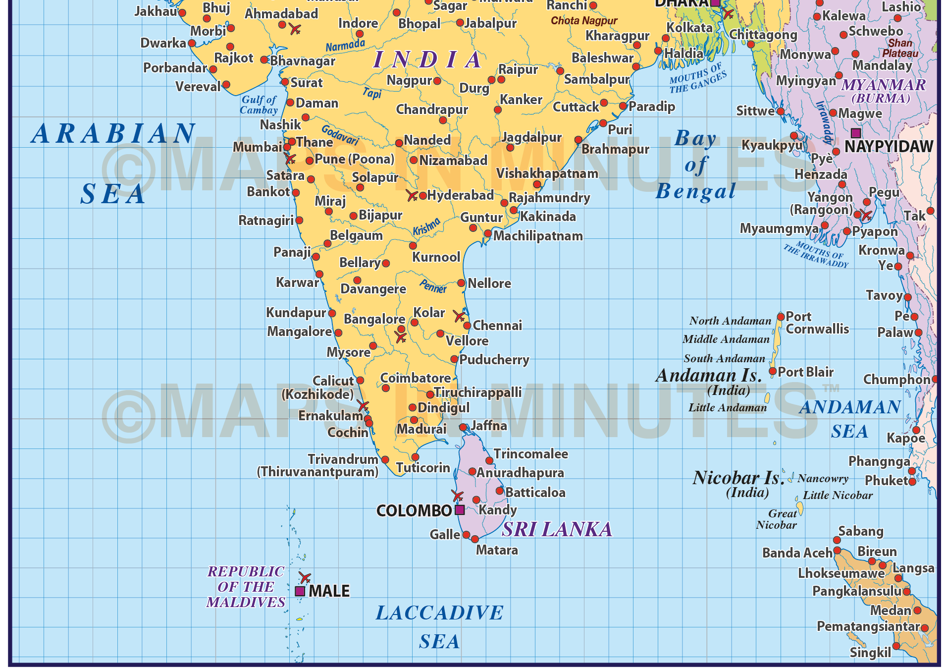 Vector India Country Map @10m scale in Illustrator and PDF ...