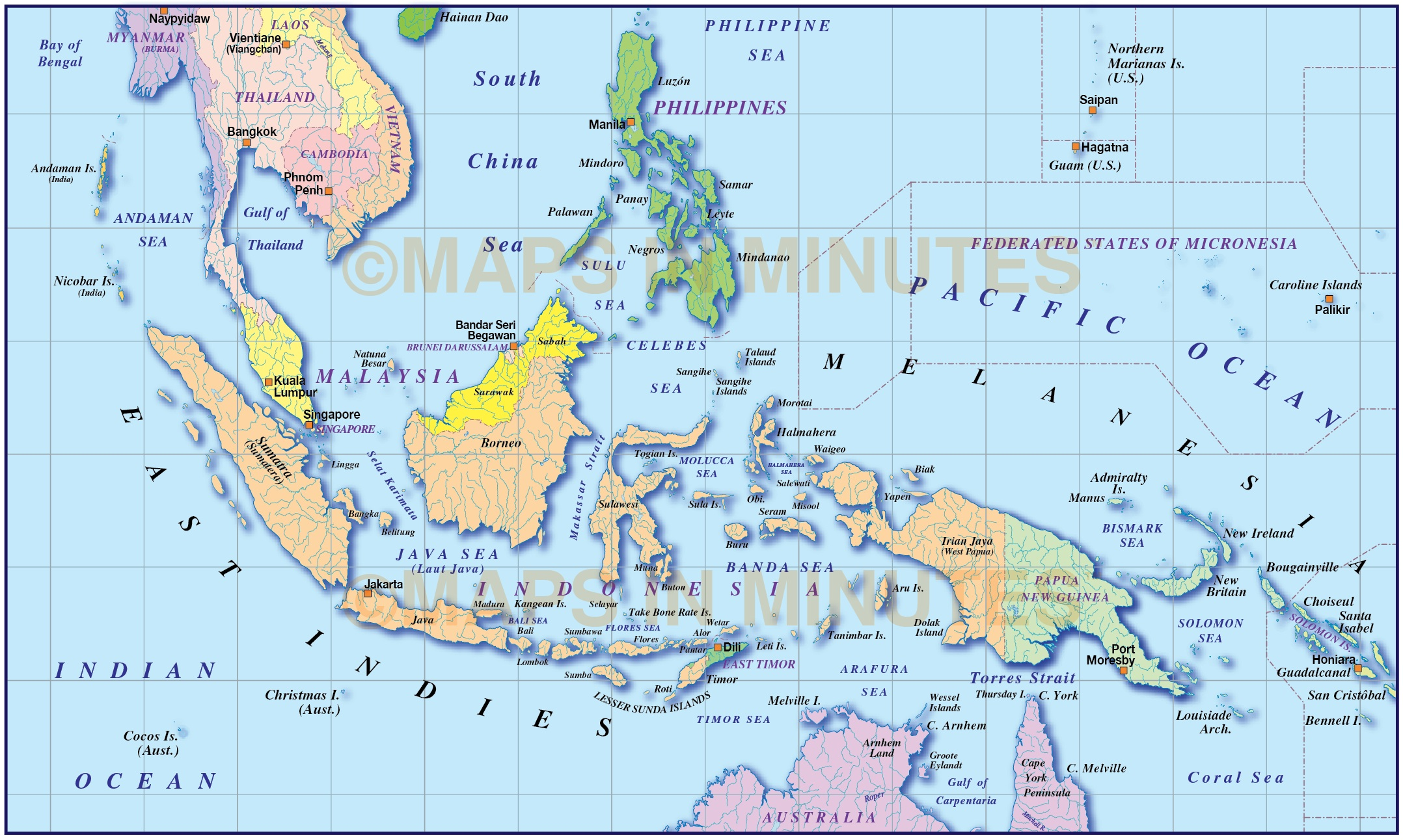 Maps: Vector Malaysia-Indonesia Simple Political Map @10M Scale