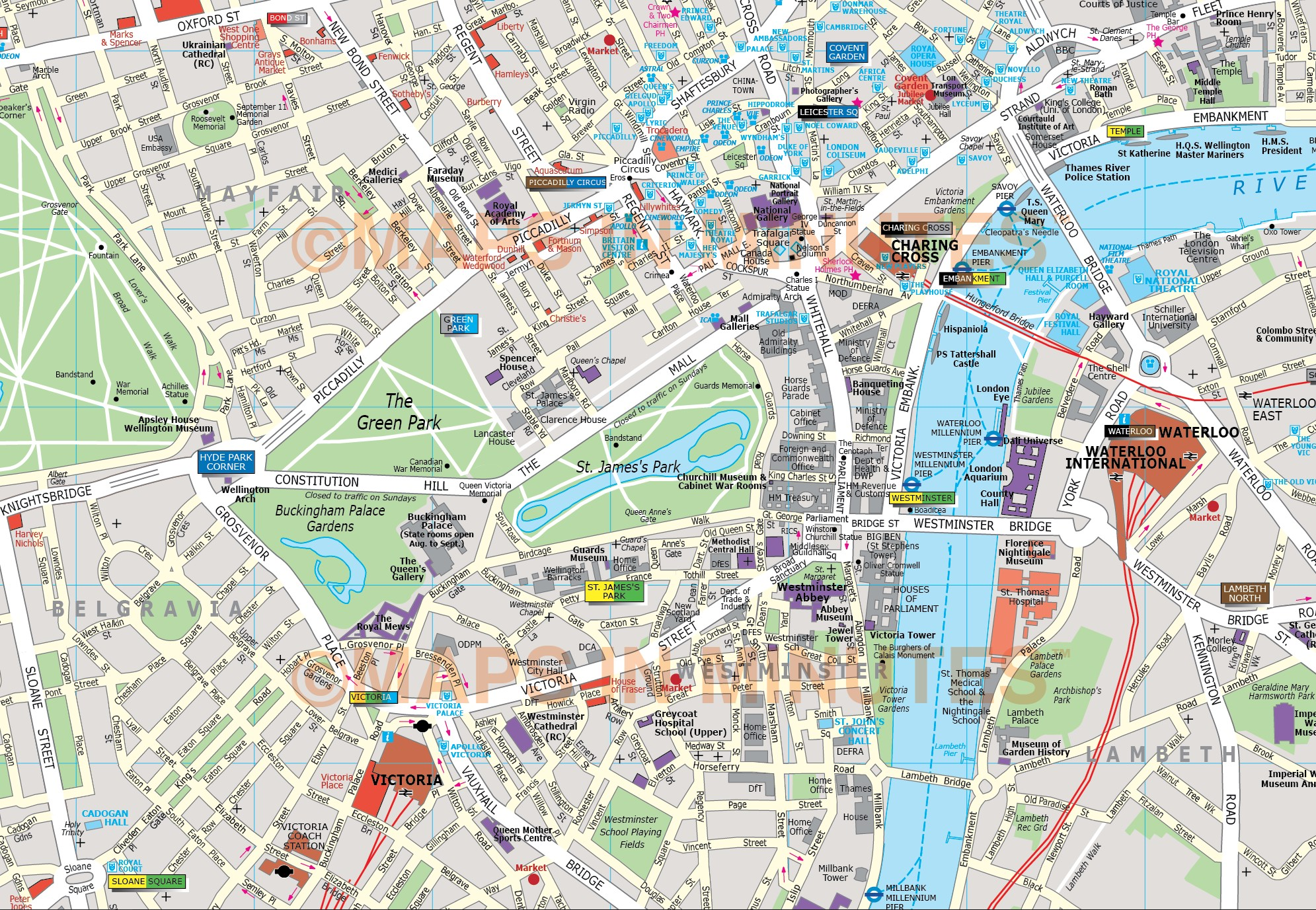 Karte London City.Deluxe London City Map In Illustrator Editable Vector Format