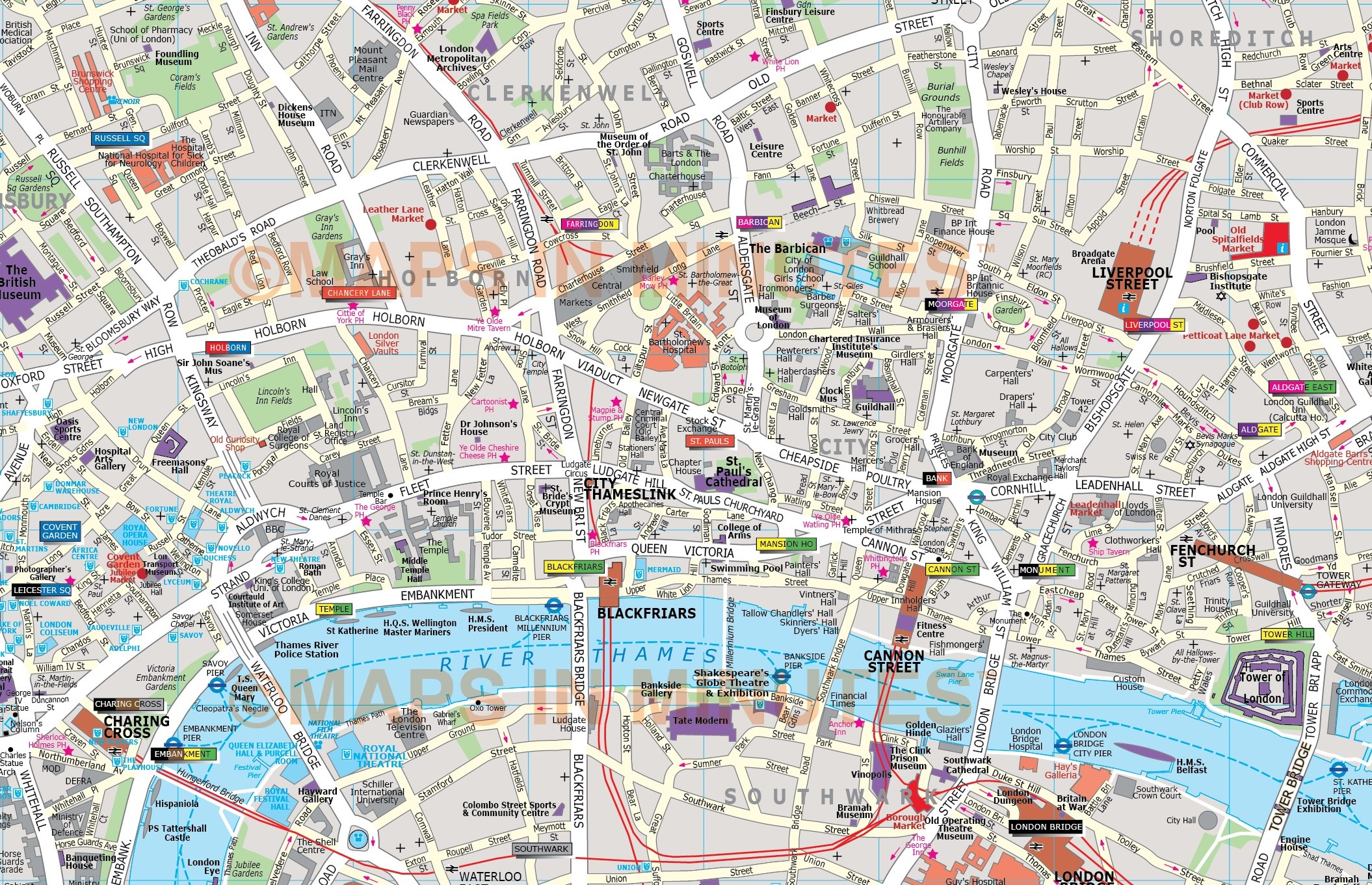 City Of London On Map.Deluxe London City Map In Illustrator Editable Vector Format