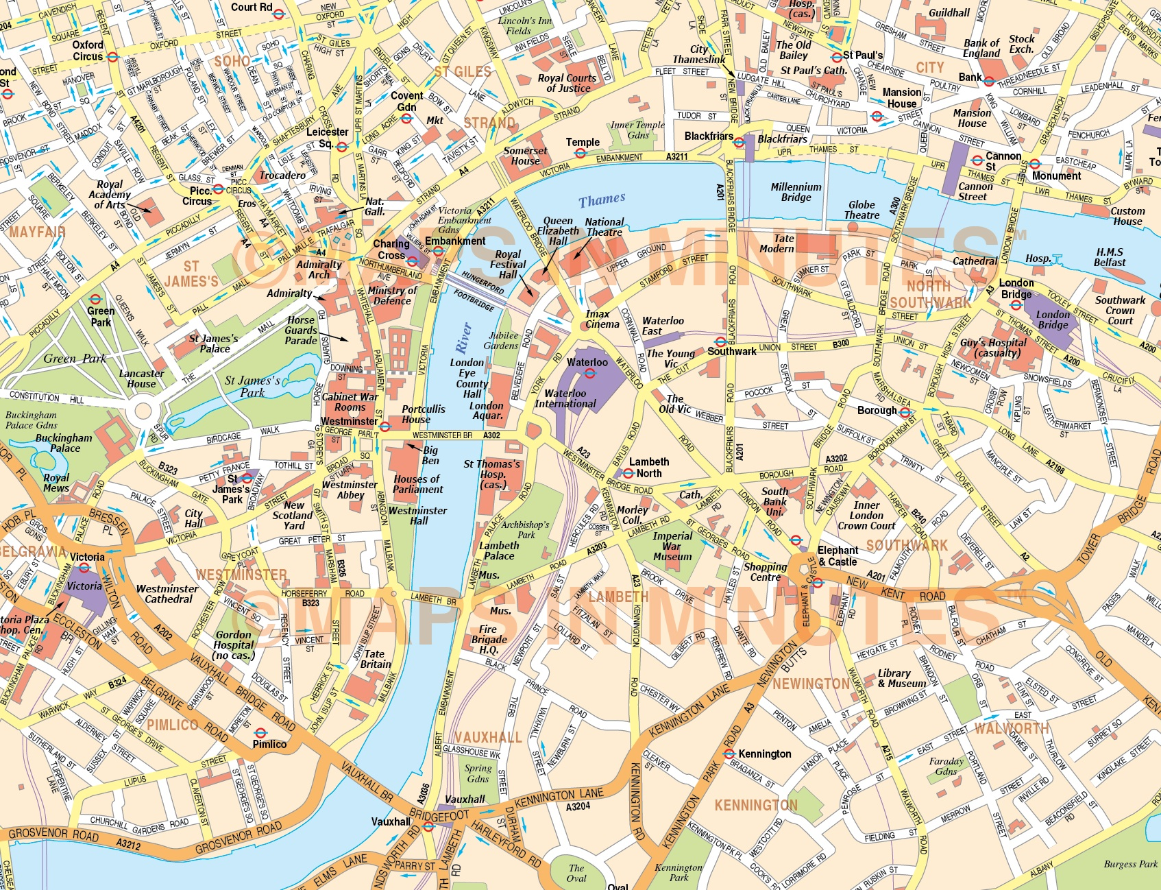 London City Map Printable.Digital Vector Map Of London In Illustrator Editable Format Royalty