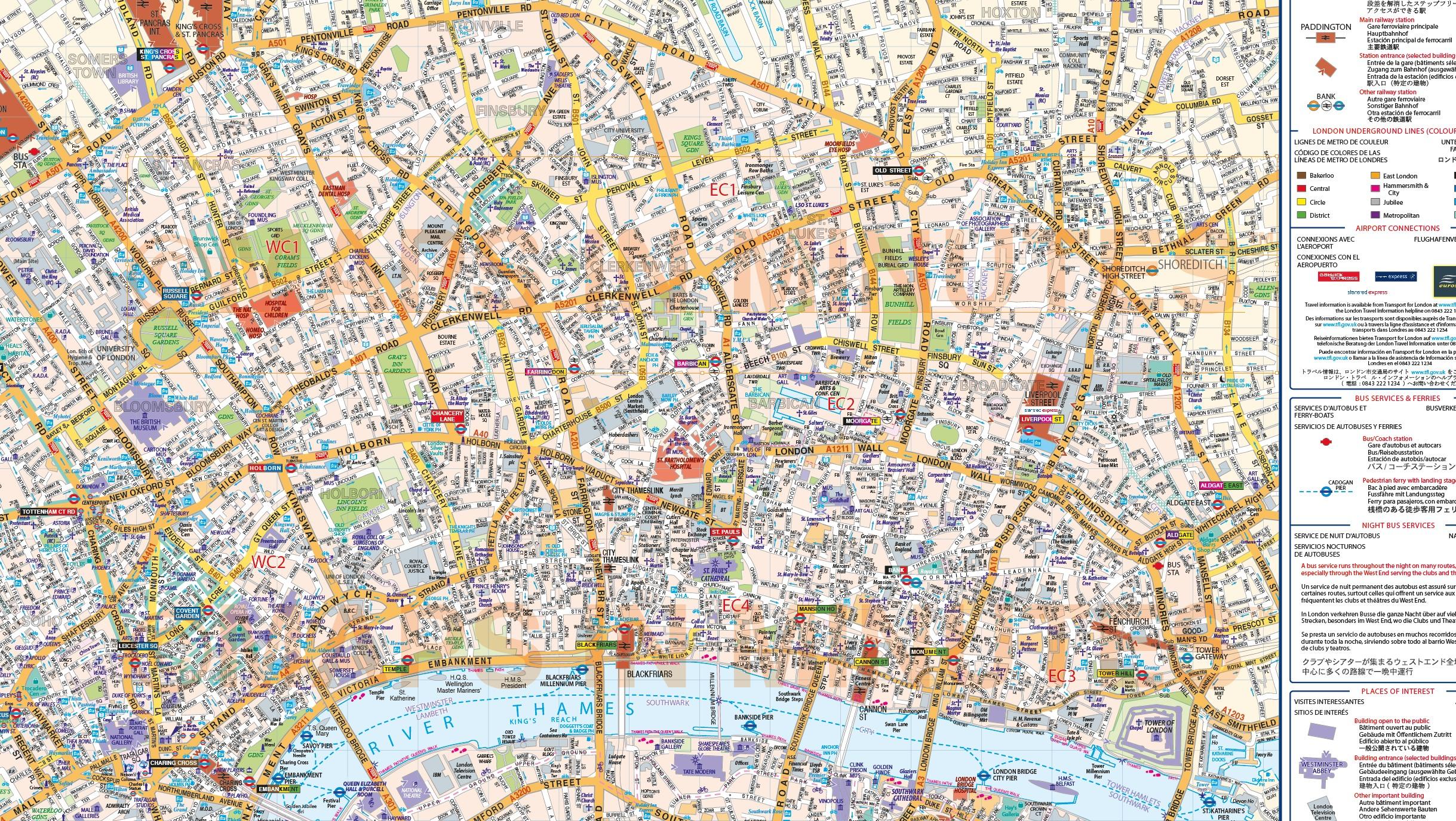 London Atlas Map.Vinyl Central London Street Map Large Size 1 2m D X 1 67m W