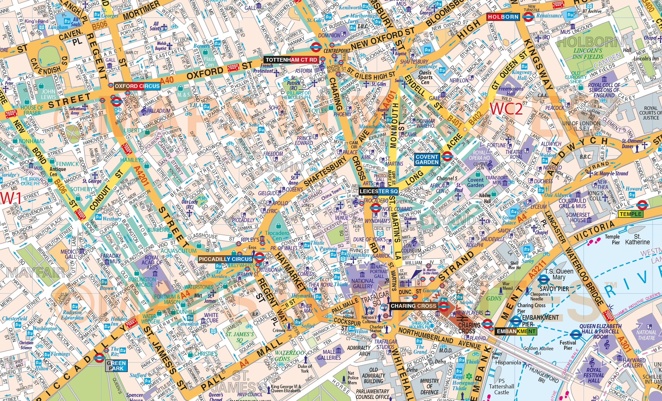 VINYL Central London Street Map Large size 12m d x 167m w