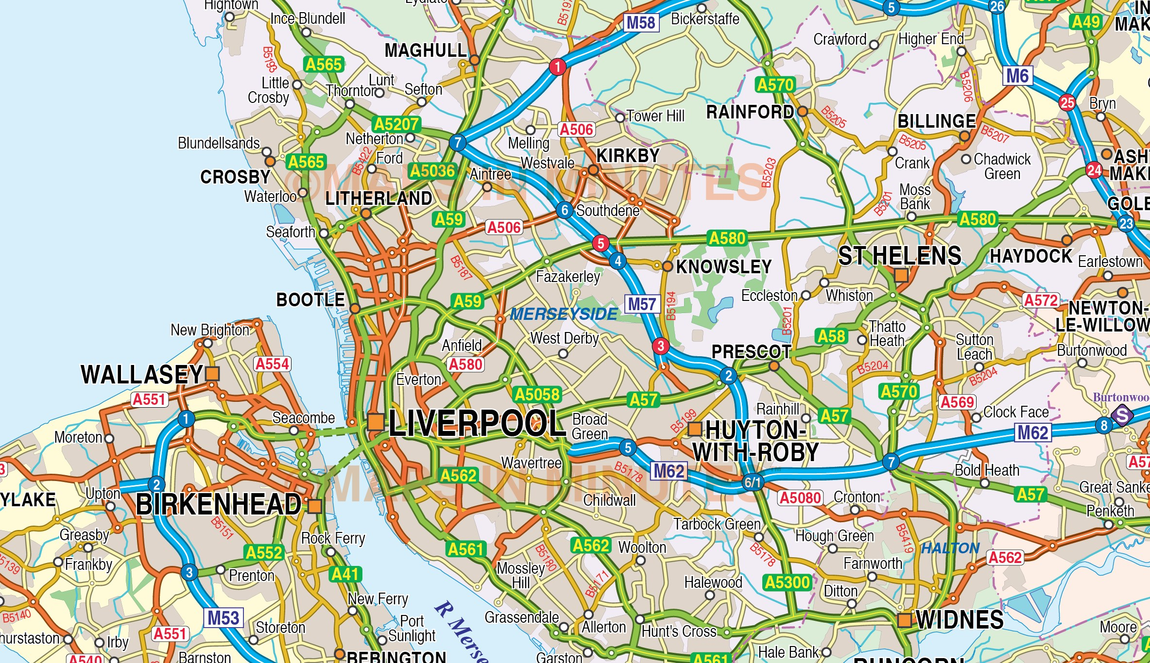 Digital vector map of Greater LiverpoolManchester 250k scale in