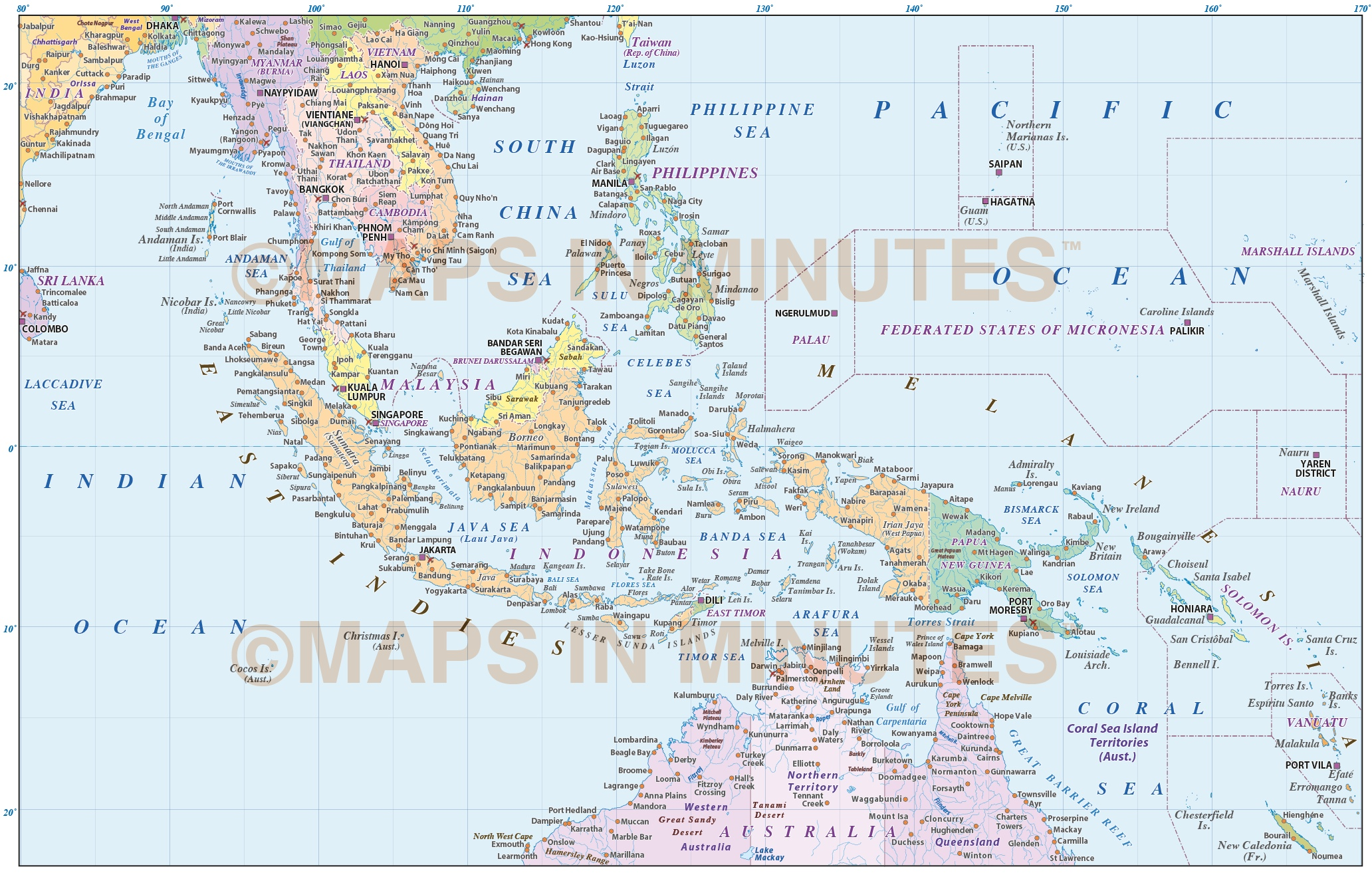 MalaysiaIndonesia Political Map With Ocean Floor Contours M - World map with latitude and longitude pdf