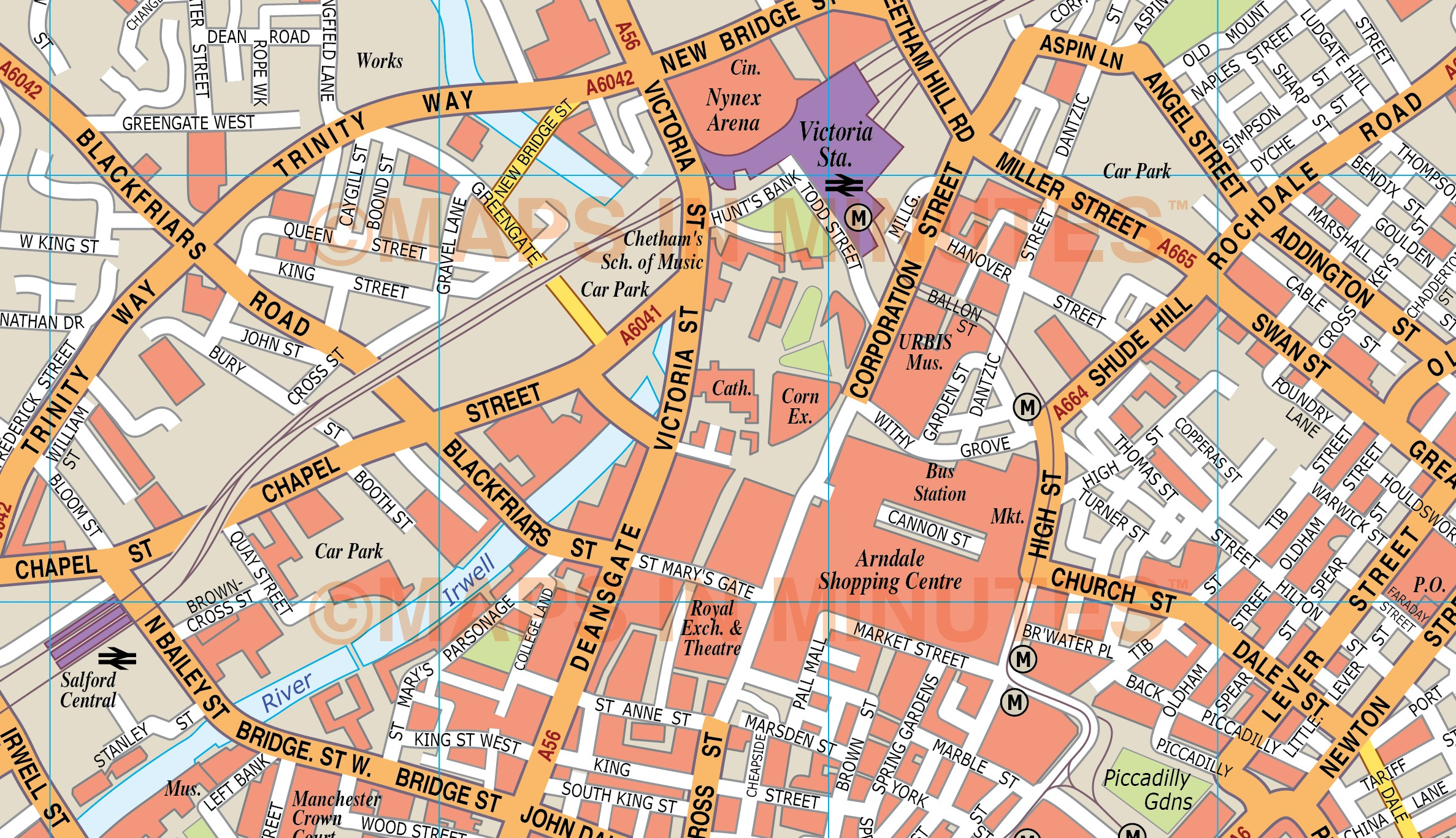 manchester uk city map in illustrator cs or pdf format detail