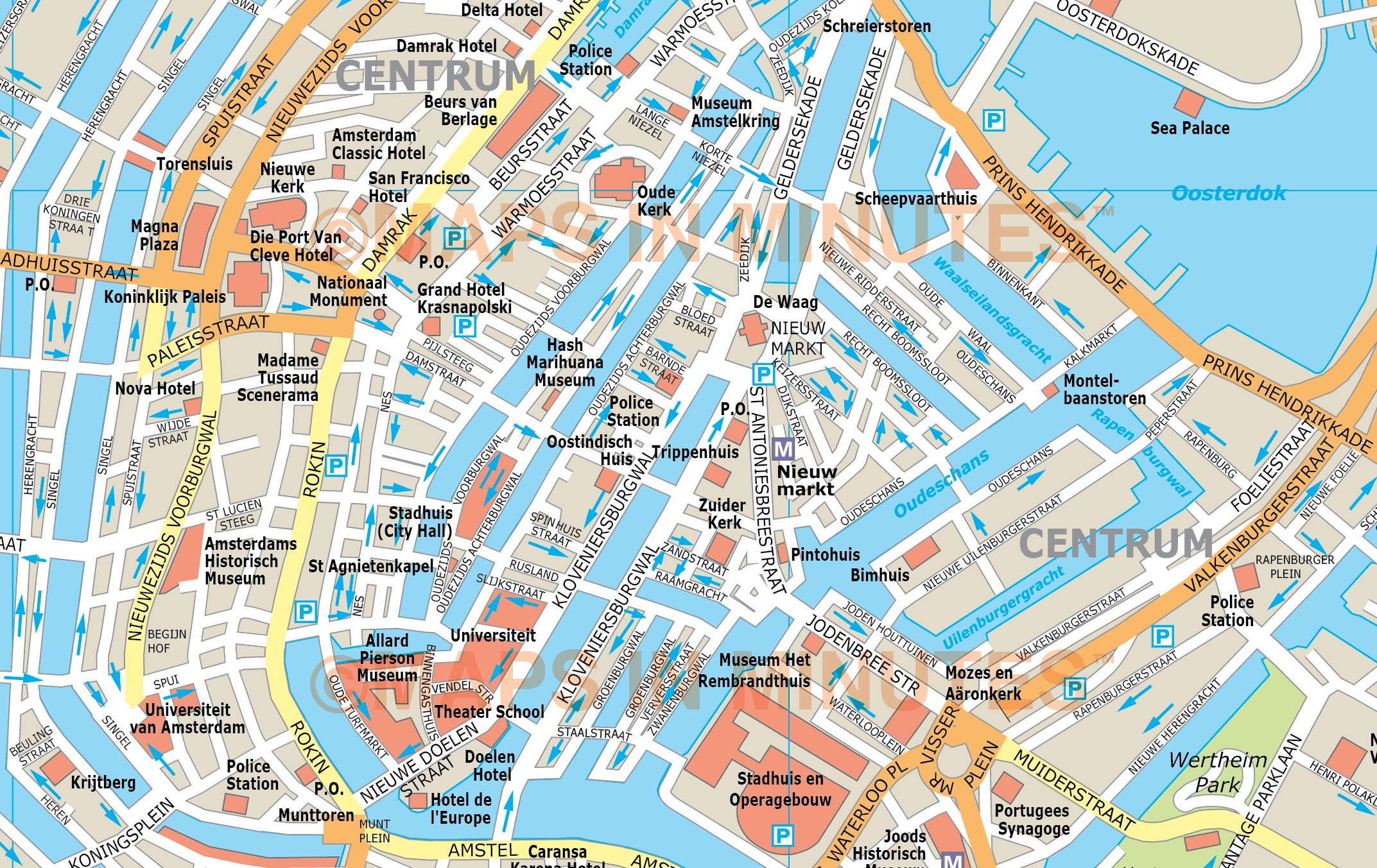 Vector Amsterdam City Map In Illustrator And Pdf Digital