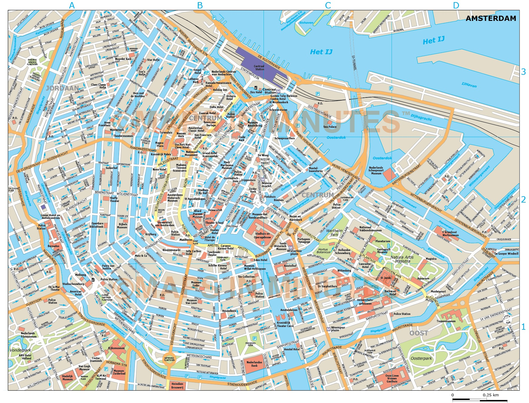 Amsterdam Map Pdf Vector Amsterdam city map in Illustrator and PDF digital formats Amsterdam Map Pdf