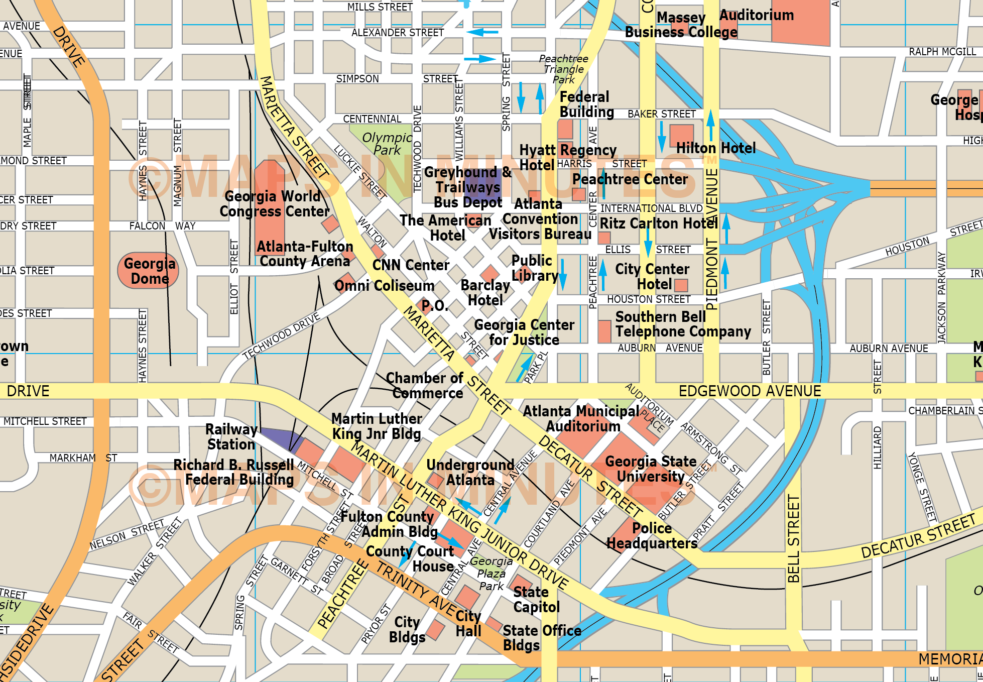 Map Of Downtown Atl Pictures To Pin On Pinterest  PinsDaddy