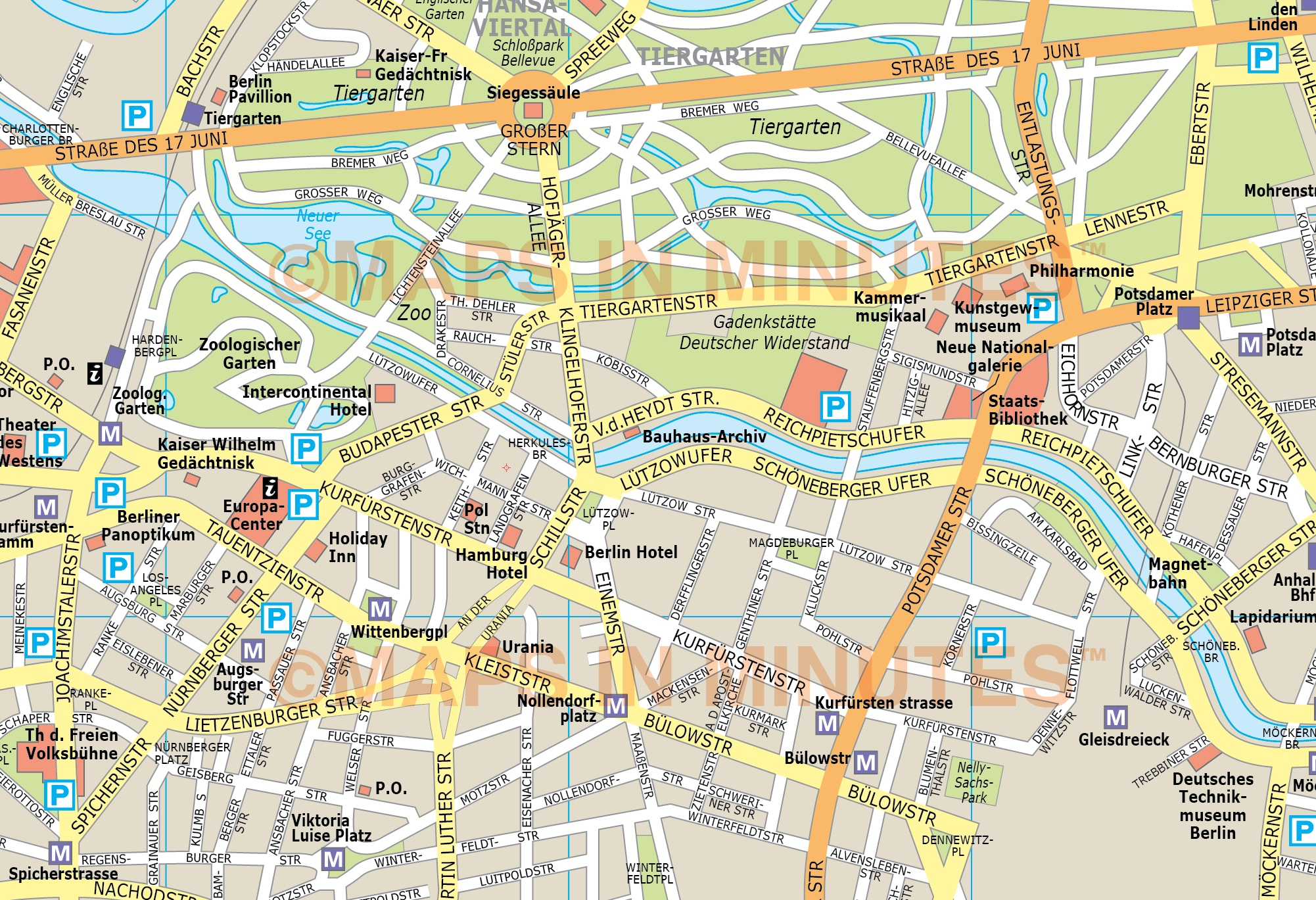 Map of Berlin tourist attractions, sightseeing & tourist tour