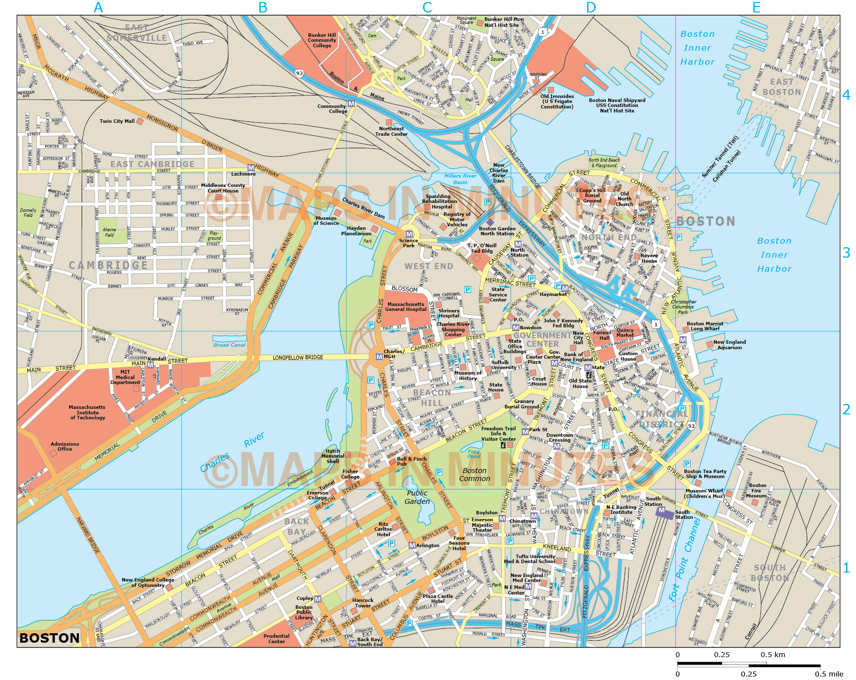 This is a photo of Dramatic Printable Map of Boston