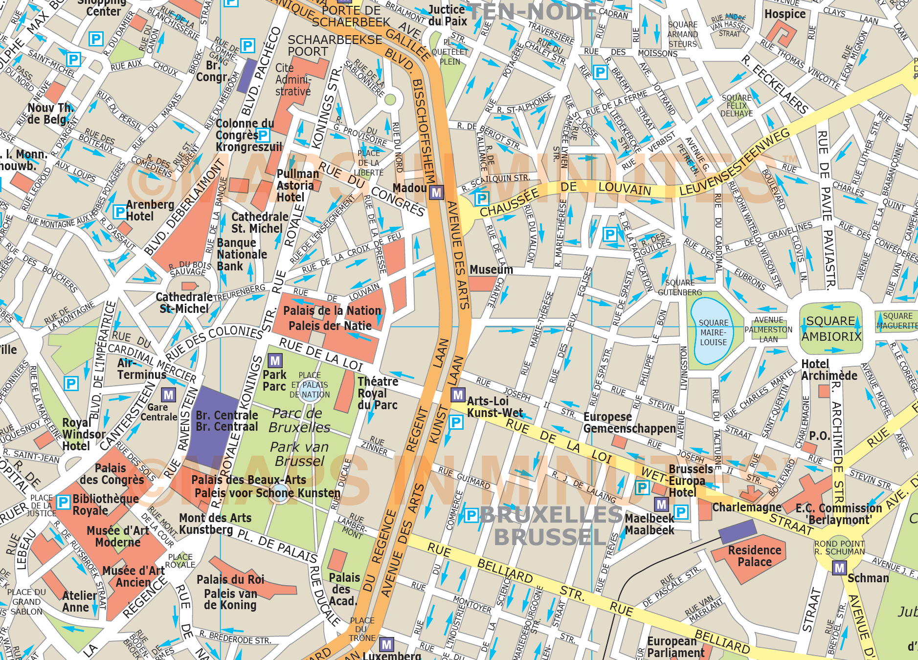 Street Map Of Brussels – Brussels Tourist Map