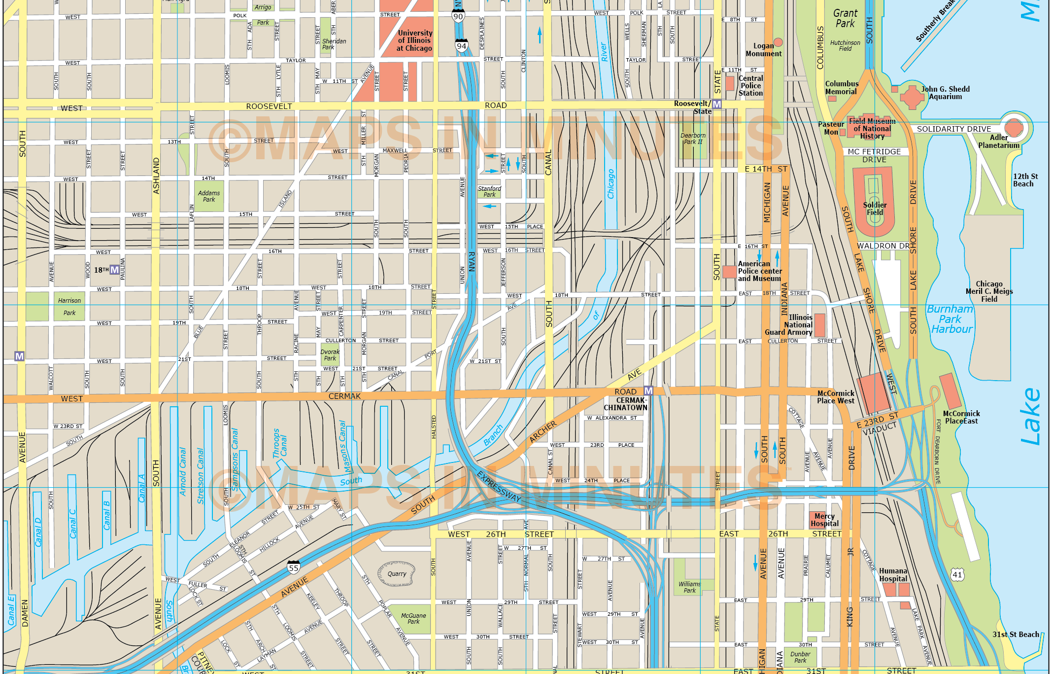Chicago City Map - Downtown chicago map pdf