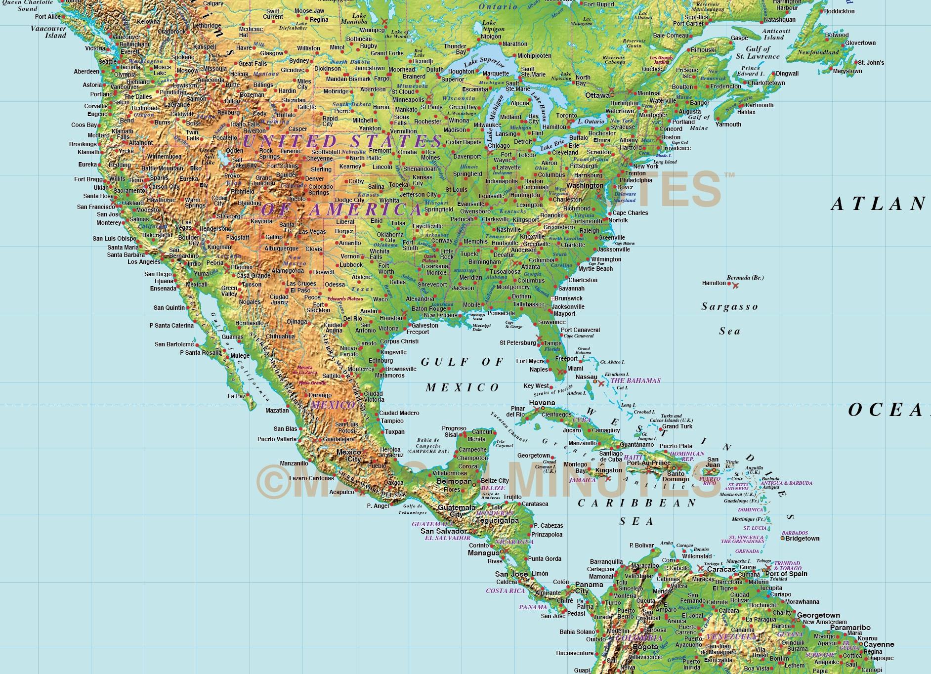 Digital Vector North America Medium Relief Map In