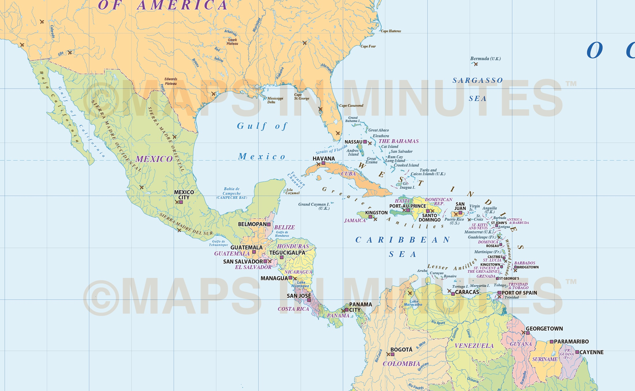 North America Countries Map With Ocean Floor Contours Scale - Political map of barbados