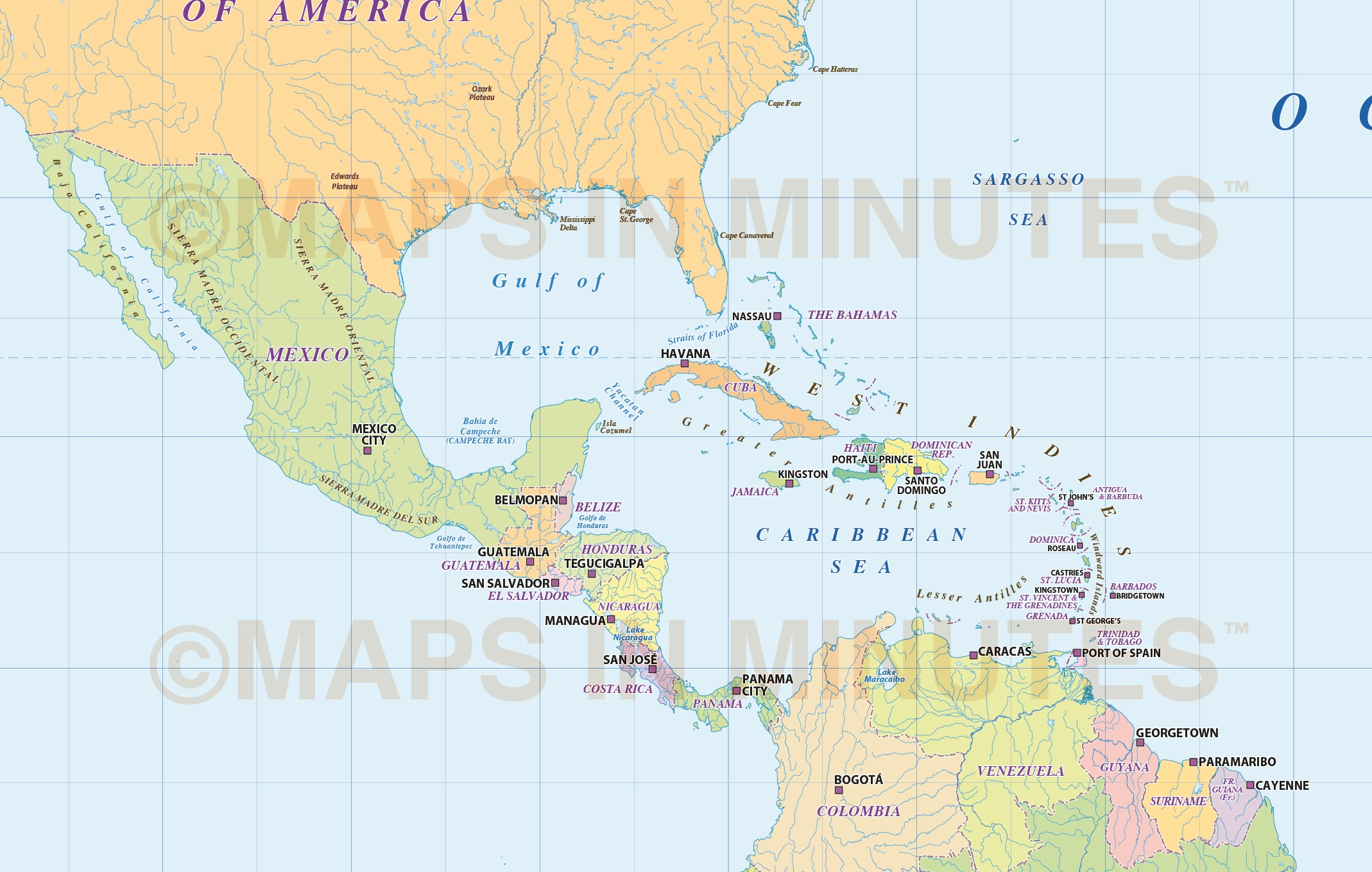 North America Countries map with ocean floor contours 10 scale