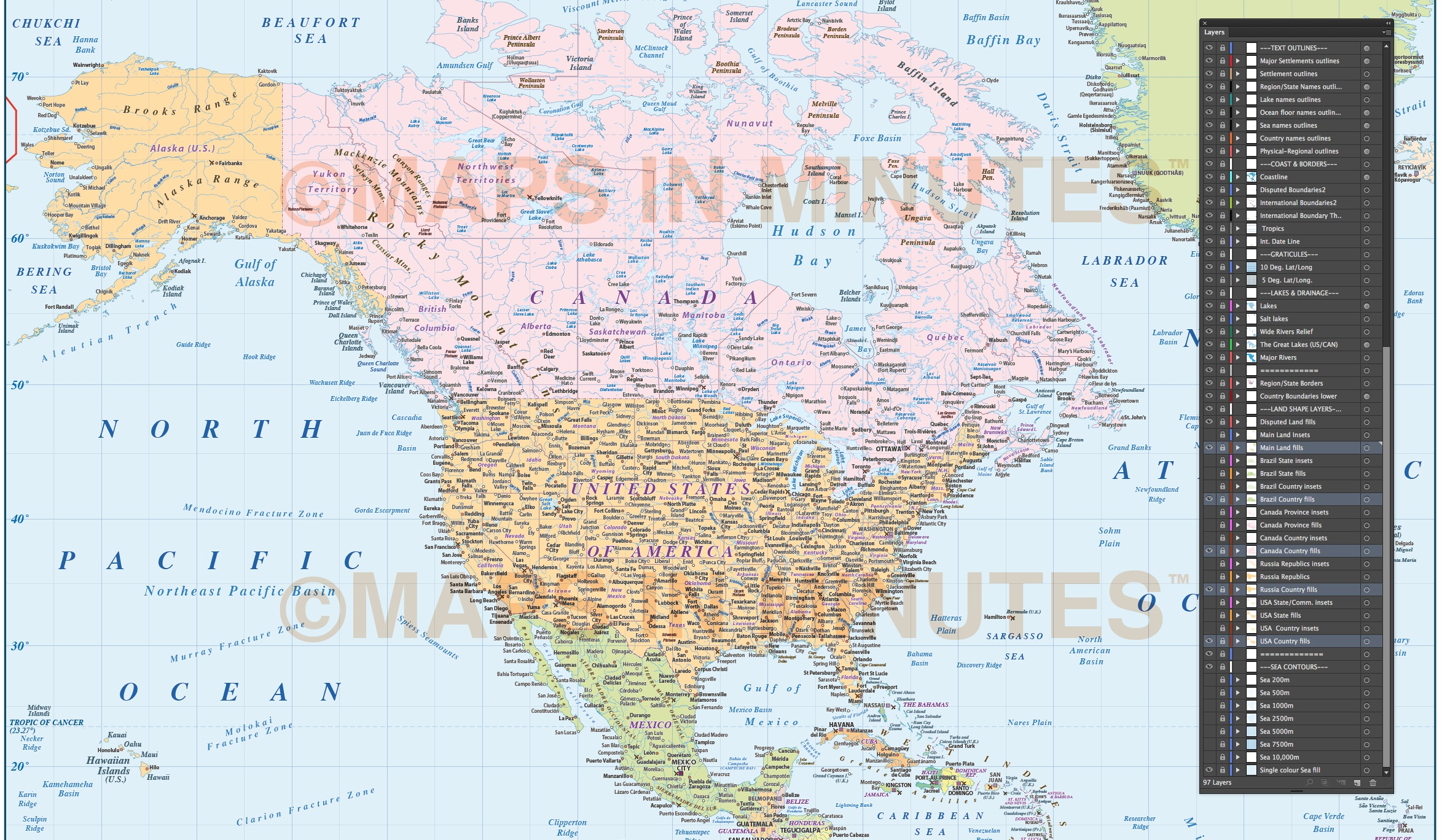 north america country map with ocean floor contours  10 000 000 scale