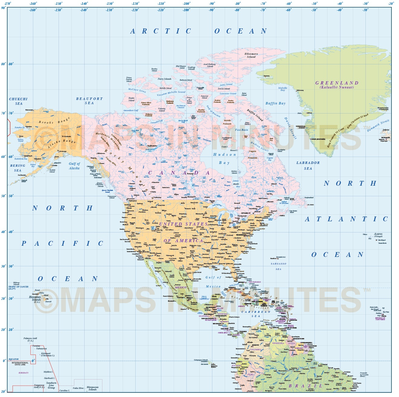 North America Region Simple Country map @10,000,000 scale in ...