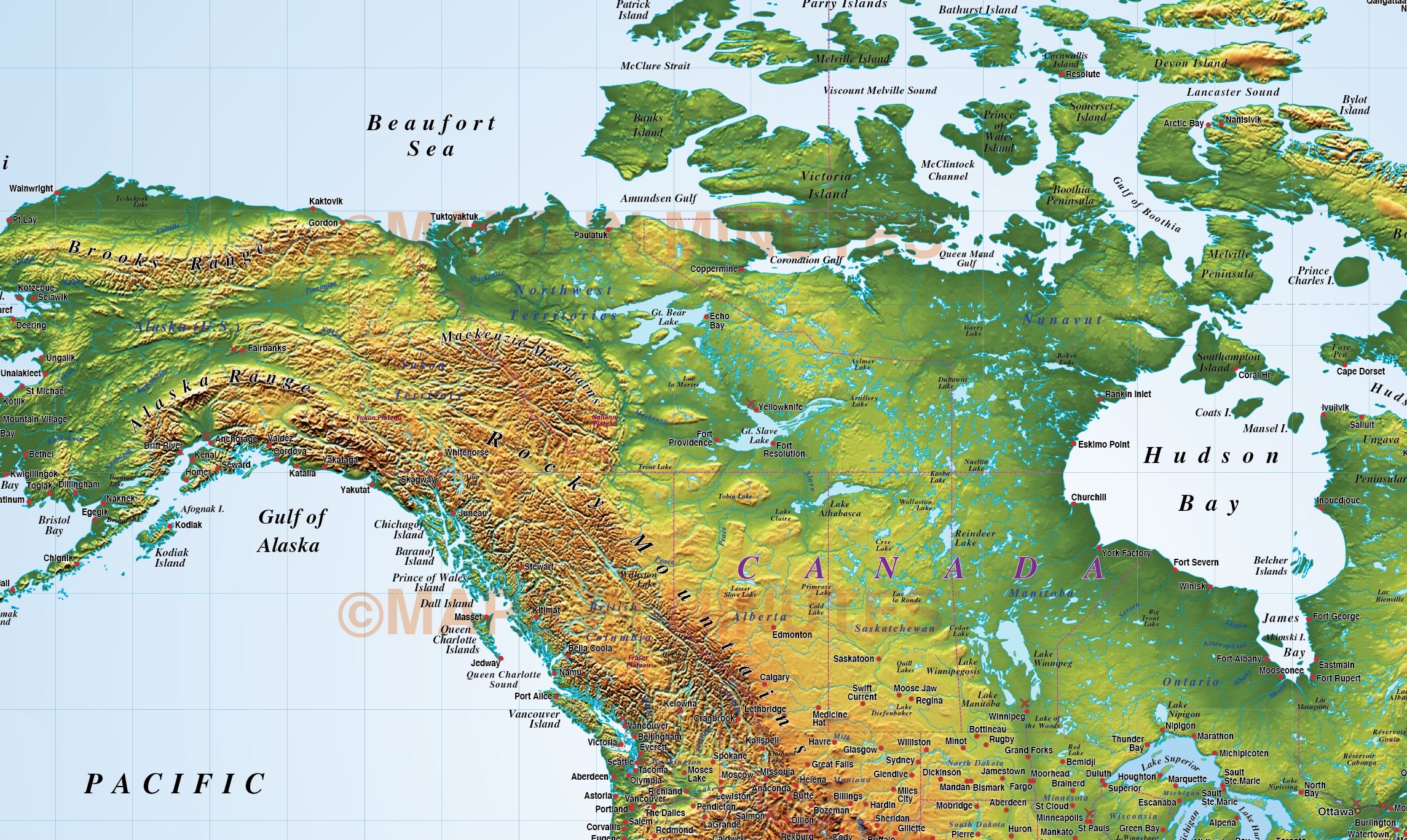North America Strong Relief Map In Illustrator Cs Format