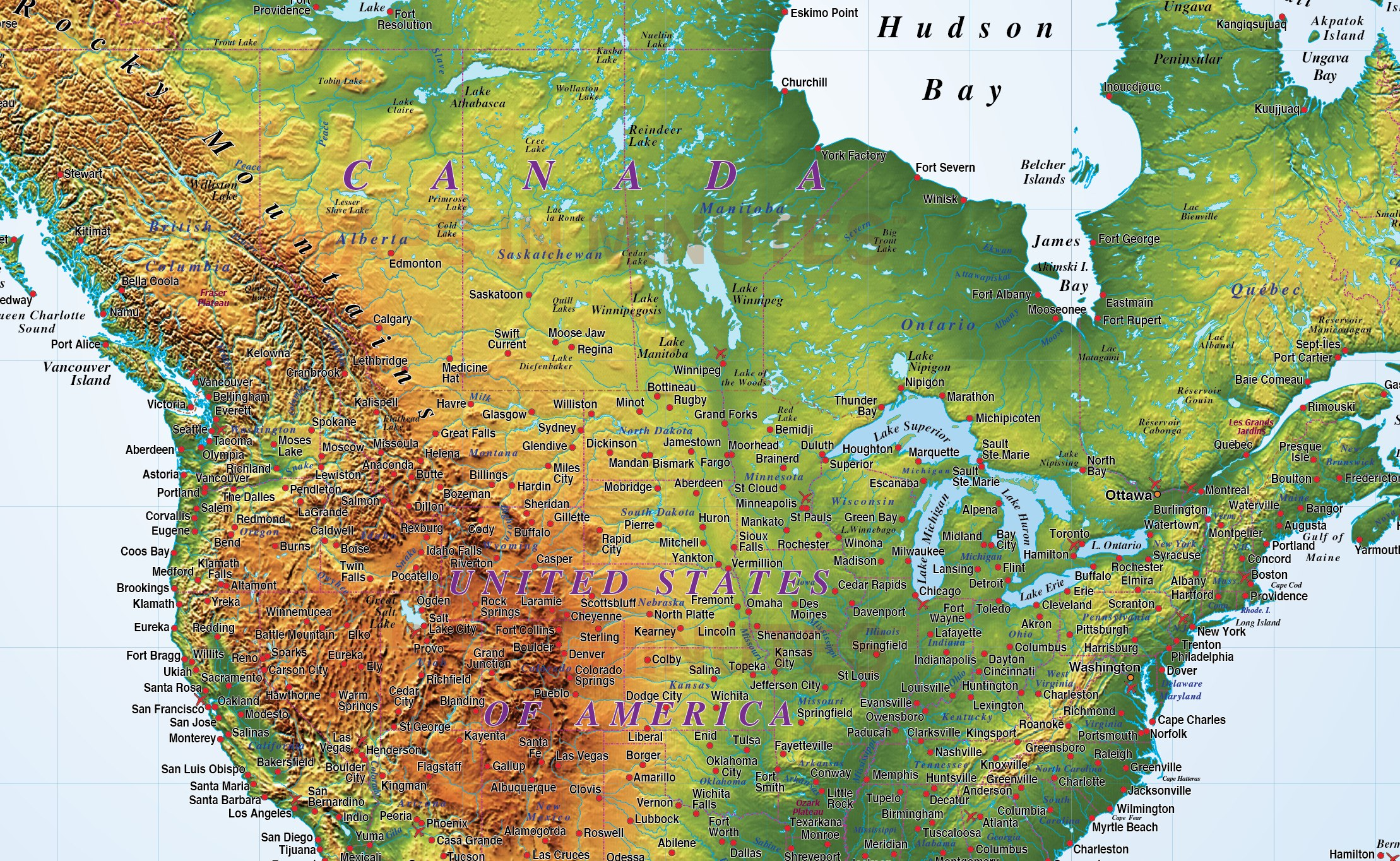 North America Strong Relief Map In Illustrator CS Format - North america relief map