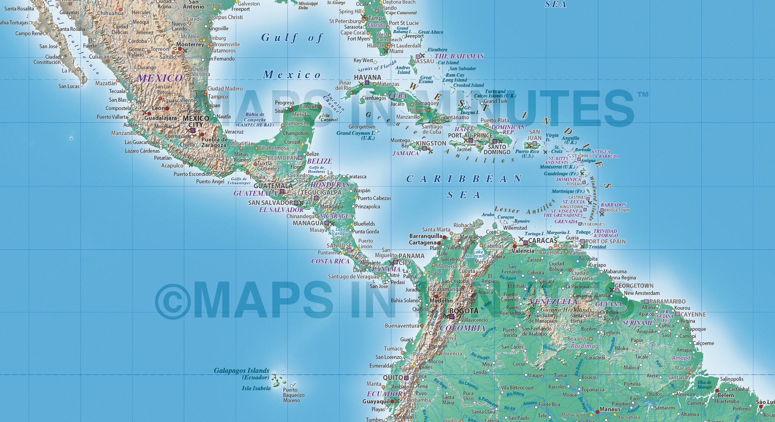 Digital vector political world map with natural earth relief vector world relief map central america detail showing natural earth relief publicscrutiny Choice Image