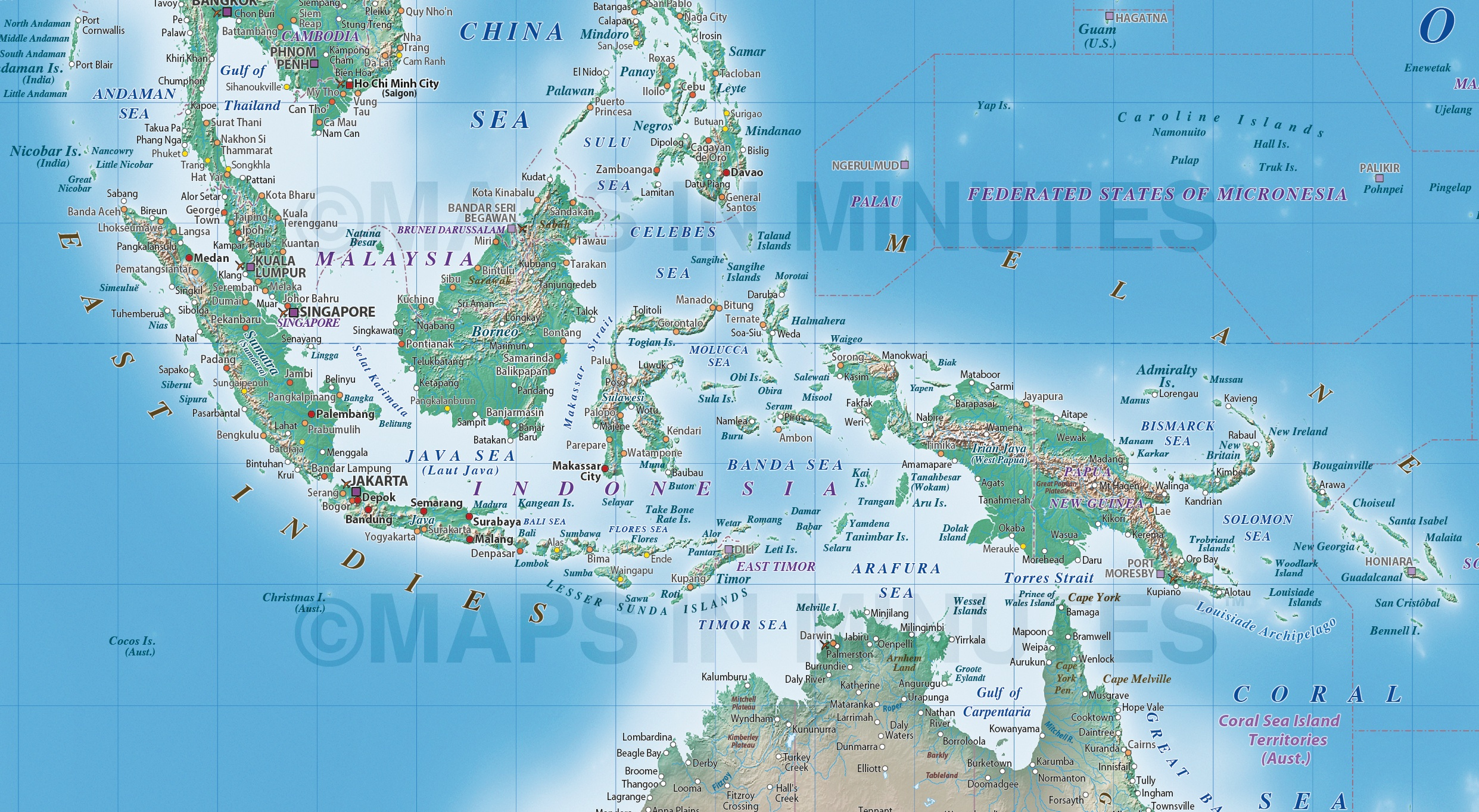 Vector World Relief Map East Indies Detail Showing Natural Earth