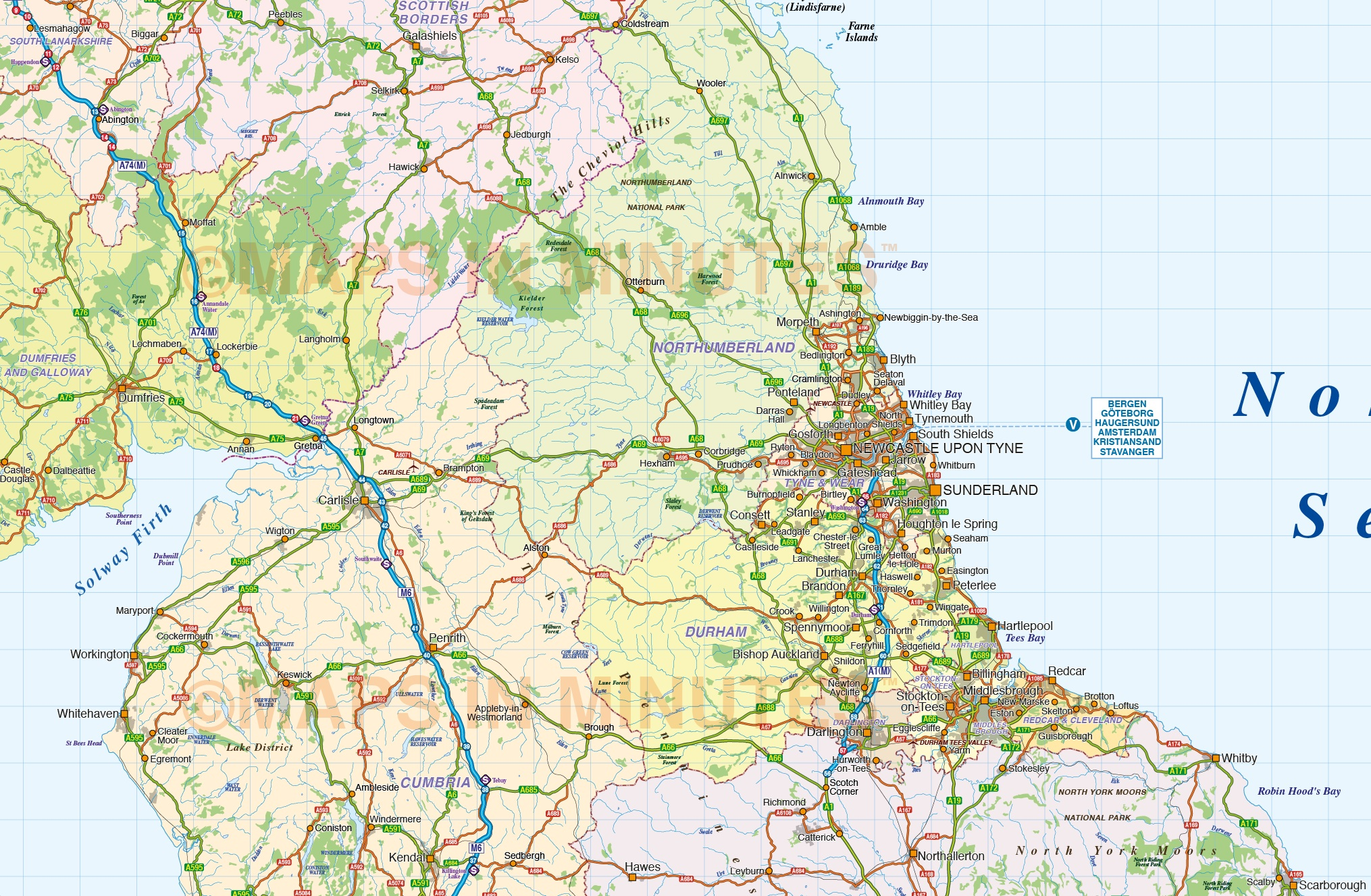 North Of England Map.Digital Vector North England County Road And Rail Map 1m Scale With