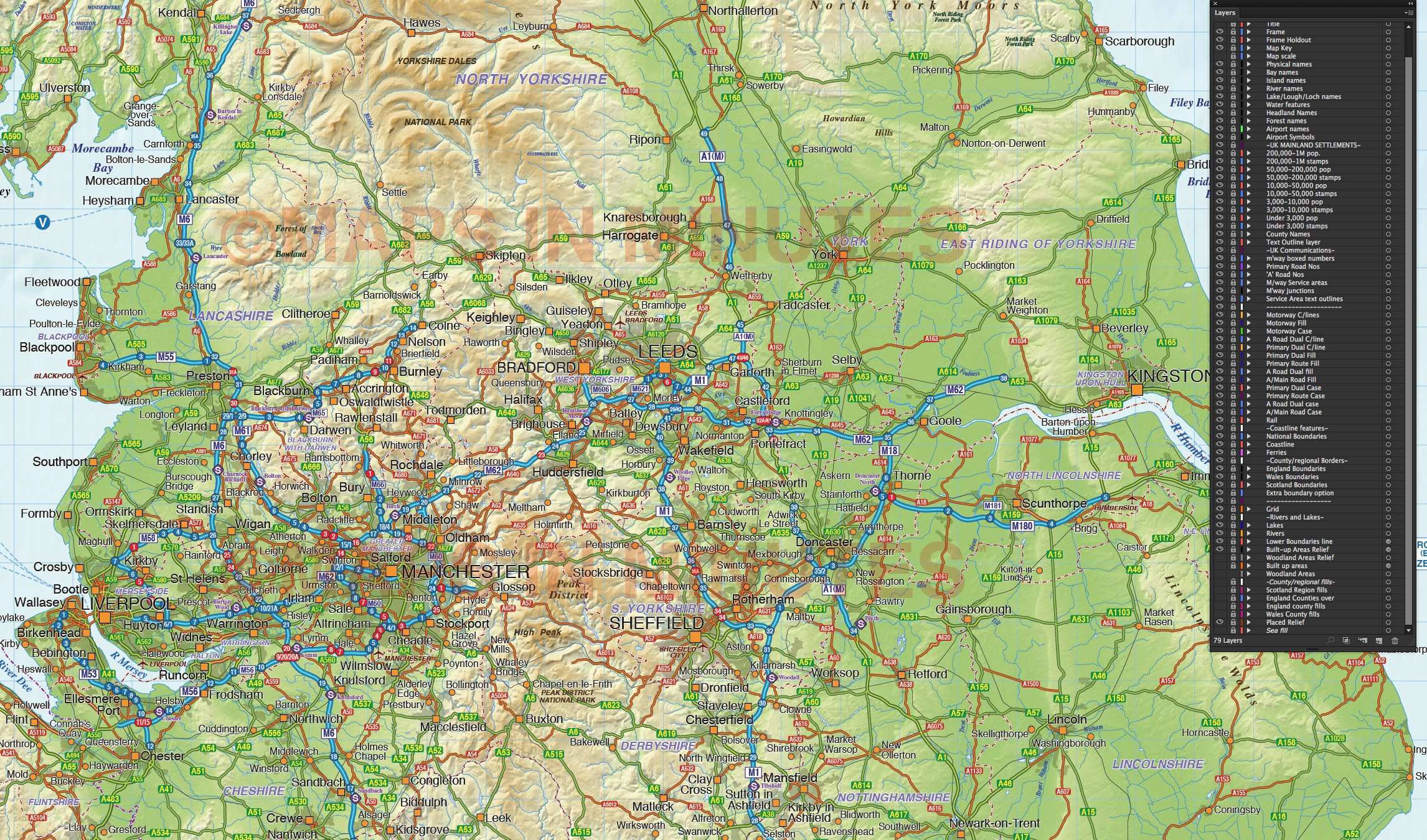 north england county road  u0026 rail map with regular colour relief  1m scale in illustrator vector