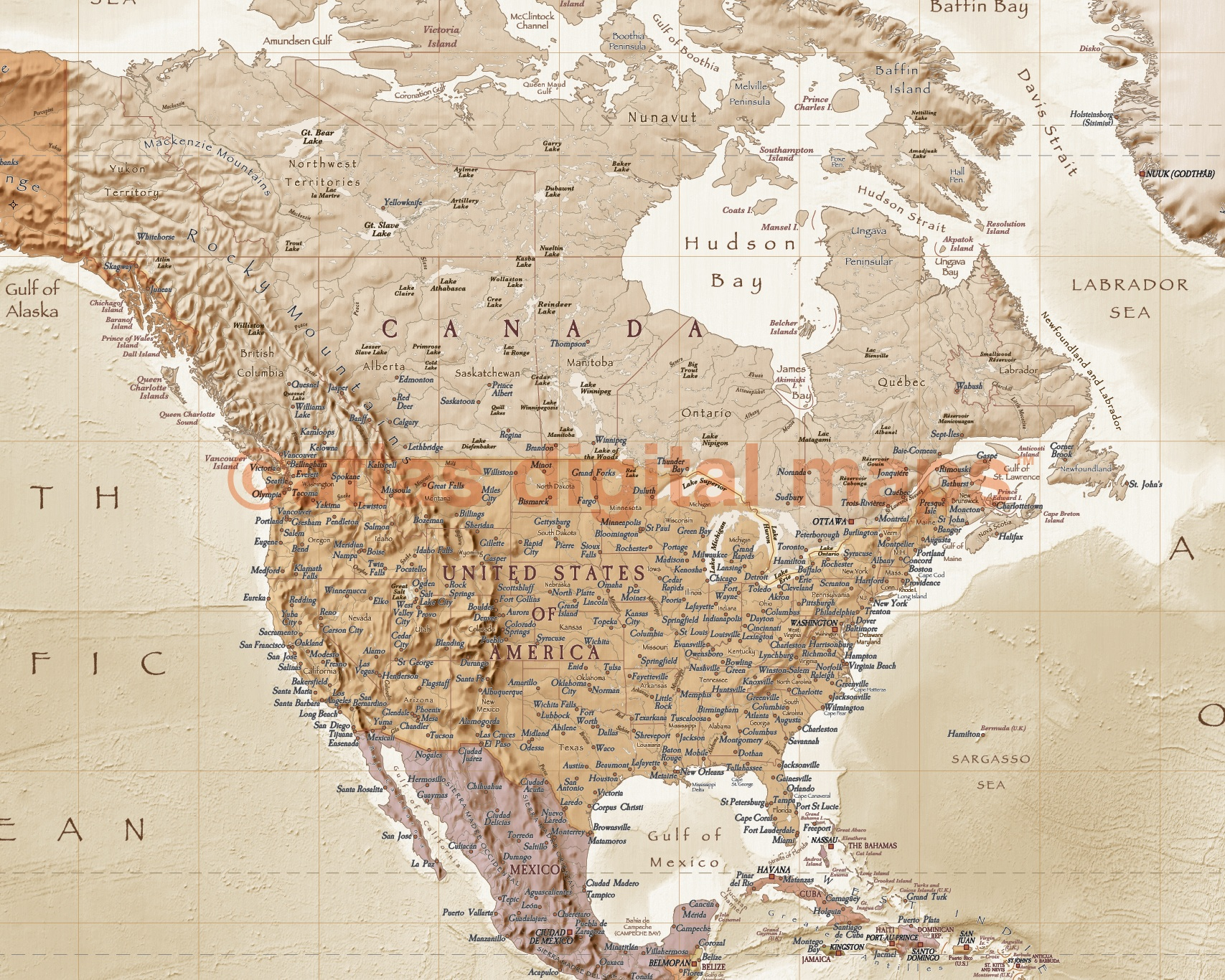 VINYL World Map Antiquestyle Tan Sand Physical Political Size - Map of the world antique style